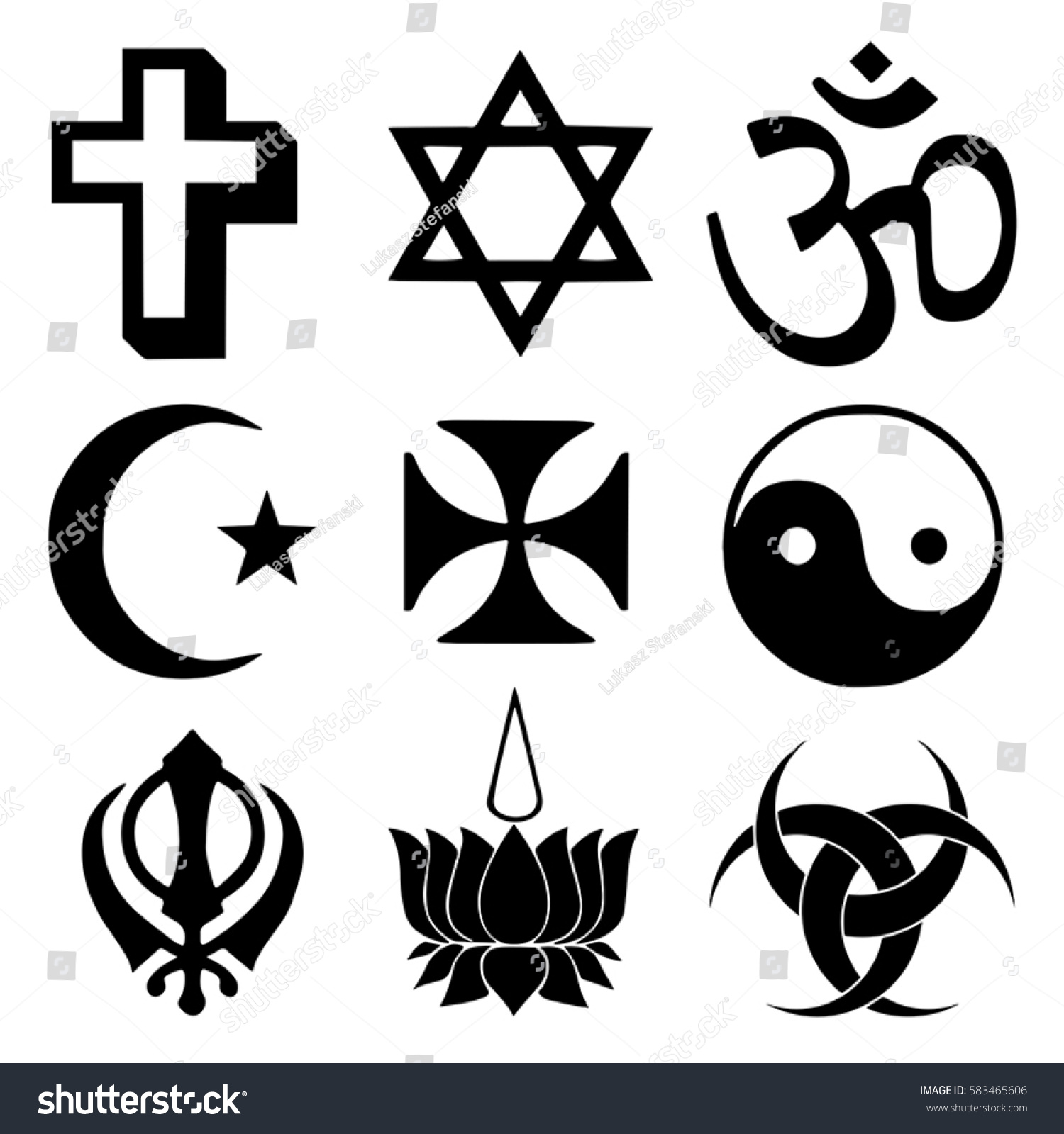 Religious Symbols Top Organized Faiths World Stock Vector Royalty