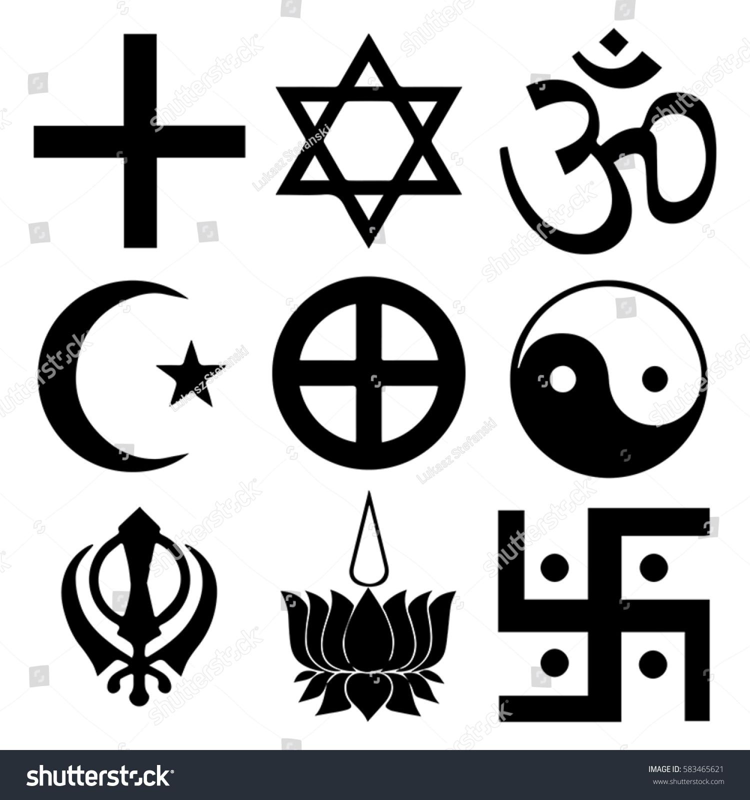 Religious Symbols Top Organized Faiths World Stock Vector Royalty