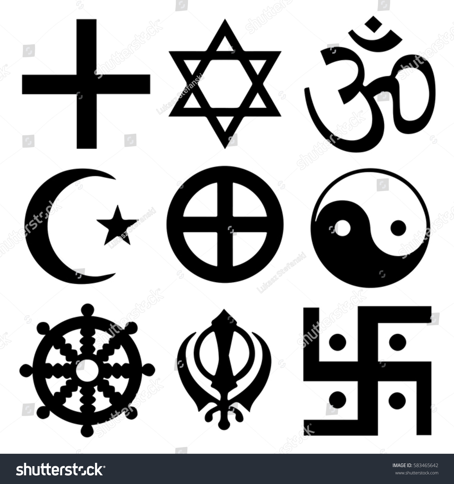 Royalty Free Religious Symbols From The Top 583465642 Stock Photo