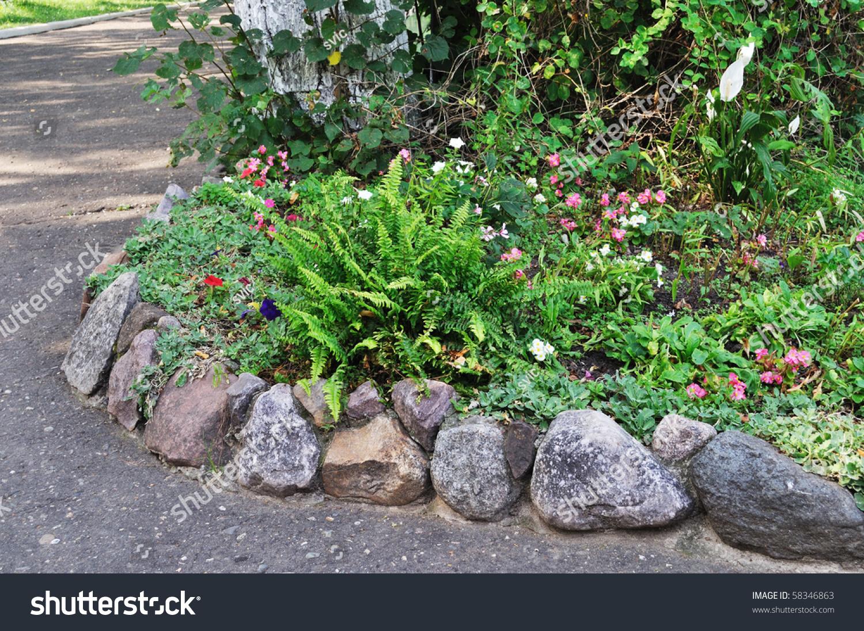 Stone Border Flower Bed - Flower