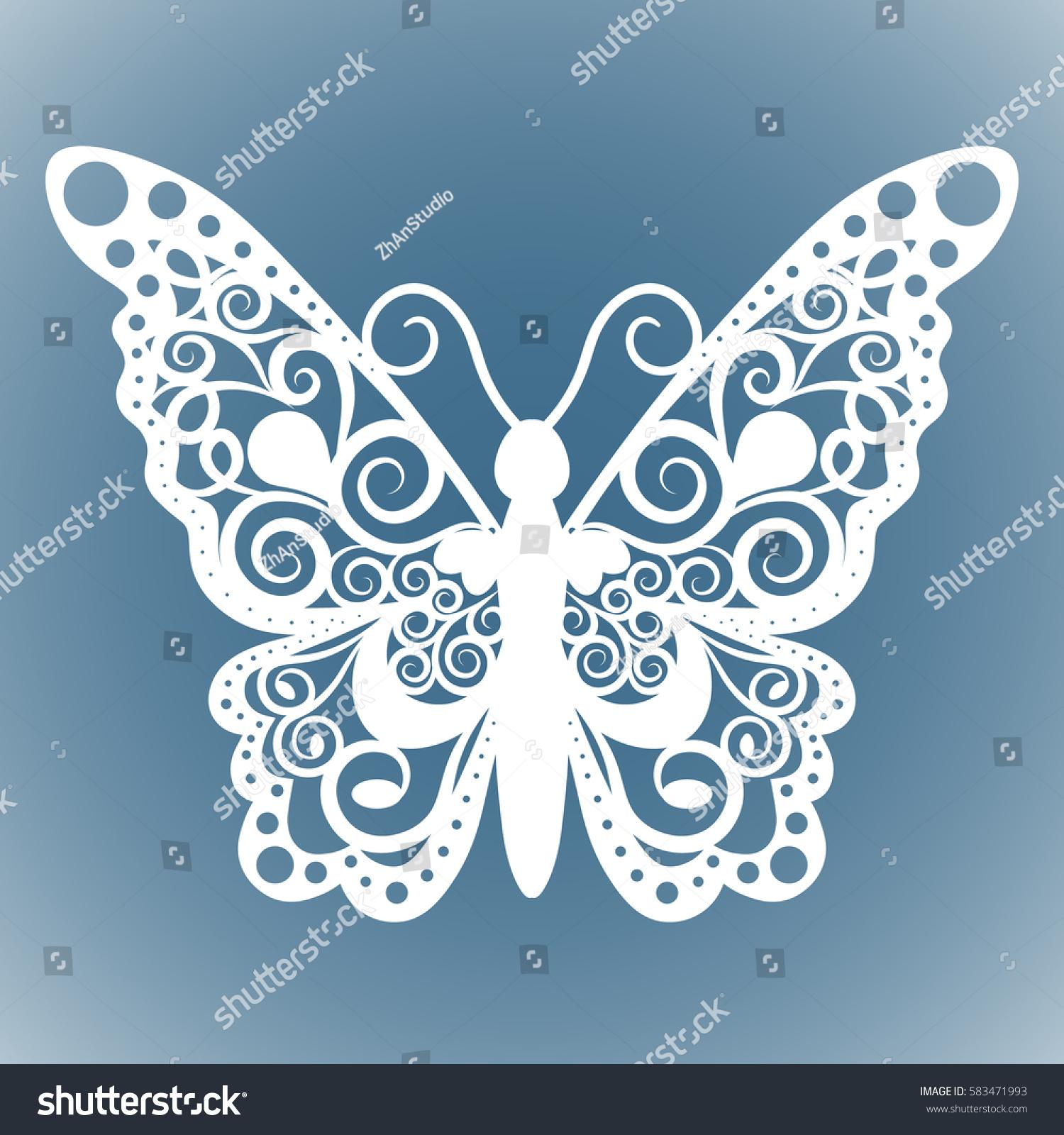 Vector Butterfly Laser Cutting Wedding Card Stock Vector