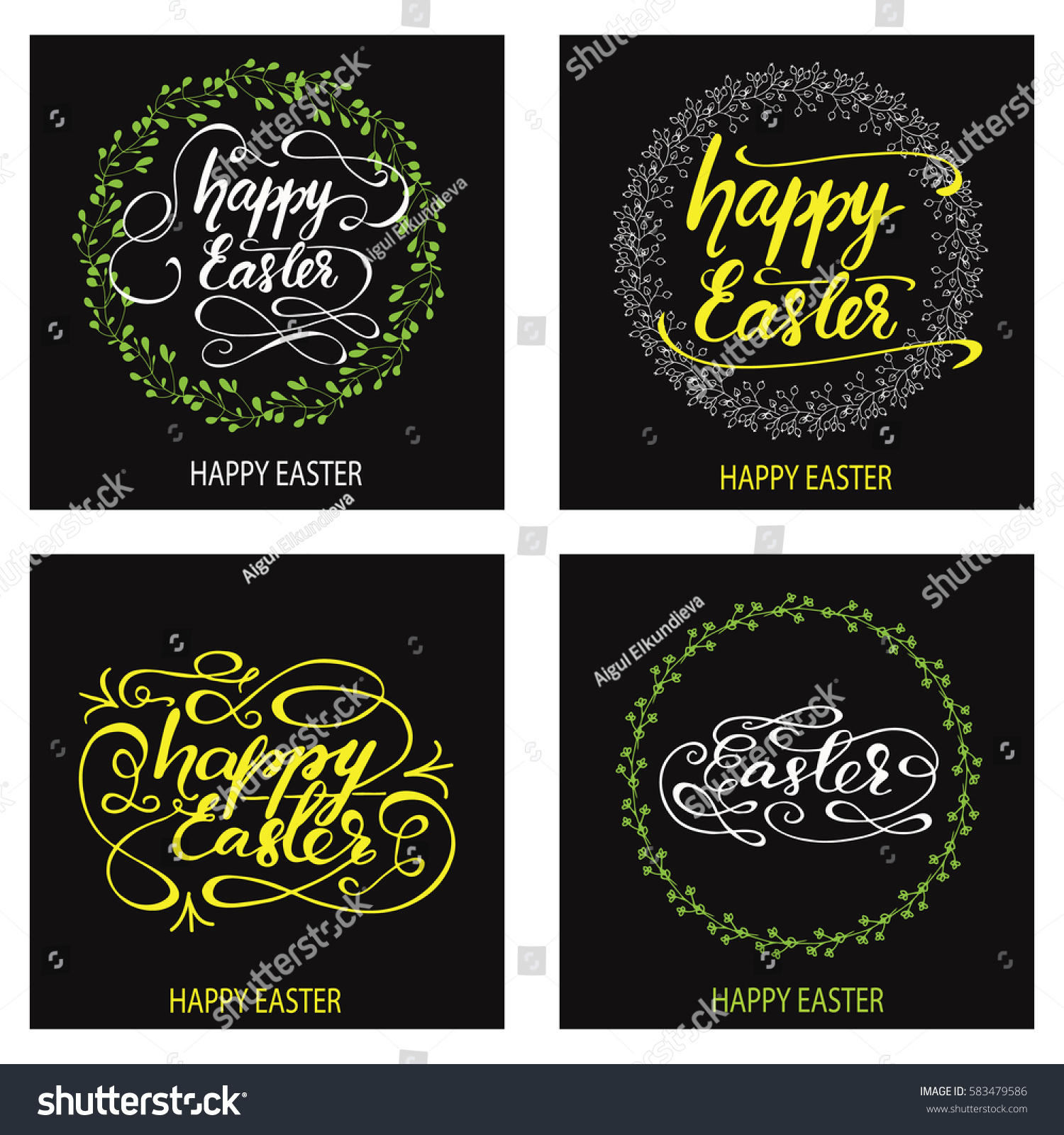 Set Greeting Cards Designed Easter Hand Stock Vector Royalty Free