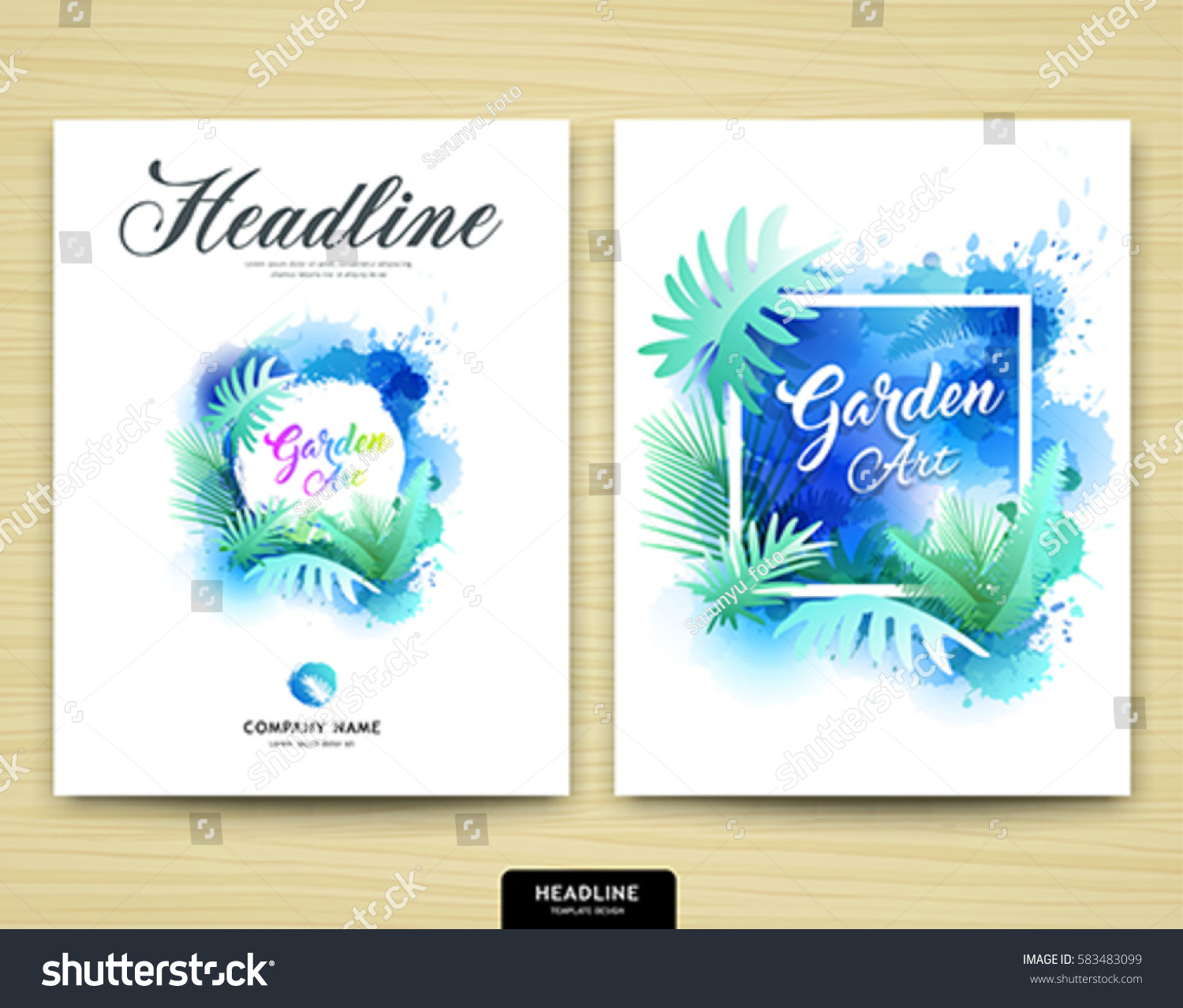 cover annual report garden design leaf tree nature water color style brochure template layout