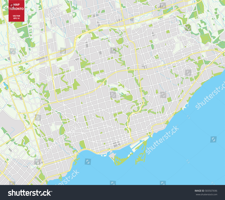 Vector Color Map Toronto Canada City Stock Vector - Toronto canada map