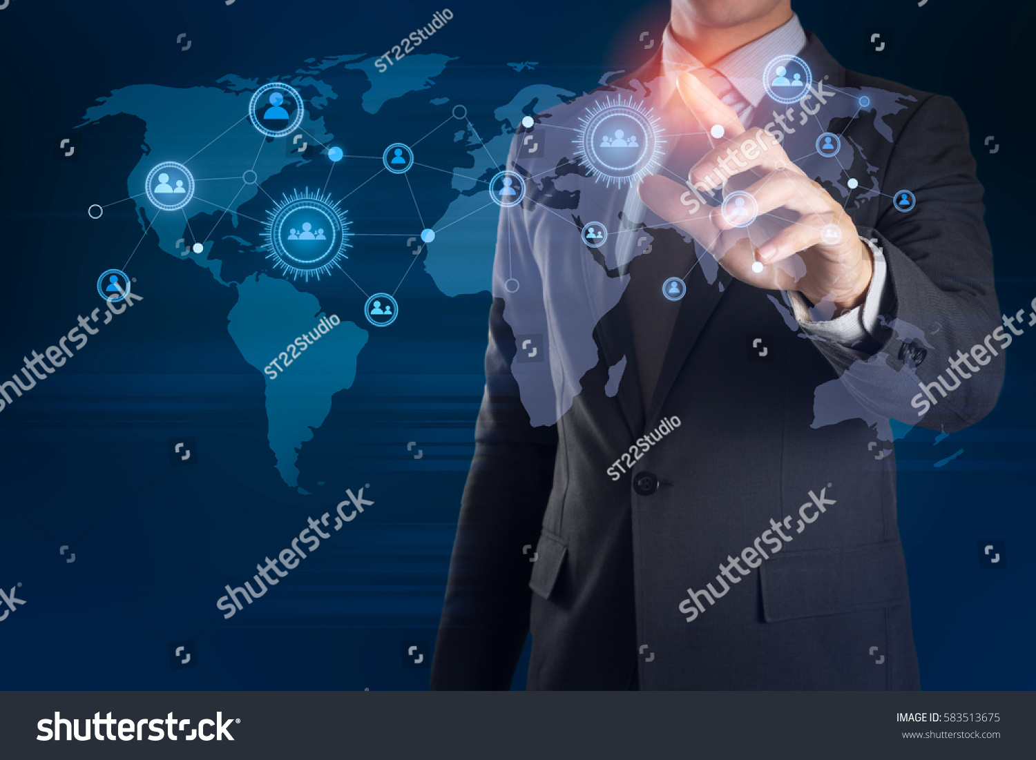 Businessman Hand Touching On Visual Earth Stock Photo (Edit Now