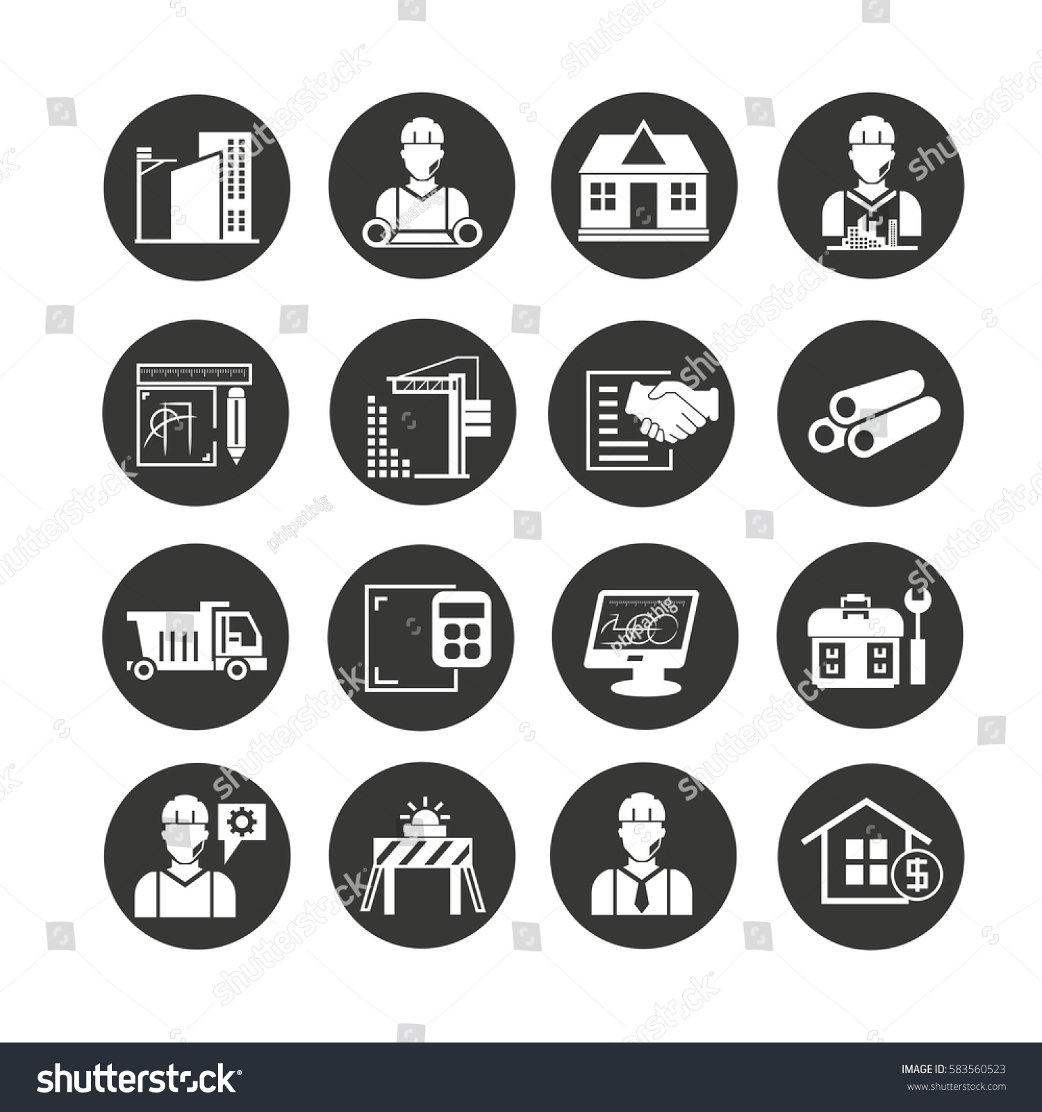 Engineering Plan Set : Engineering construction icon set circle button stock
