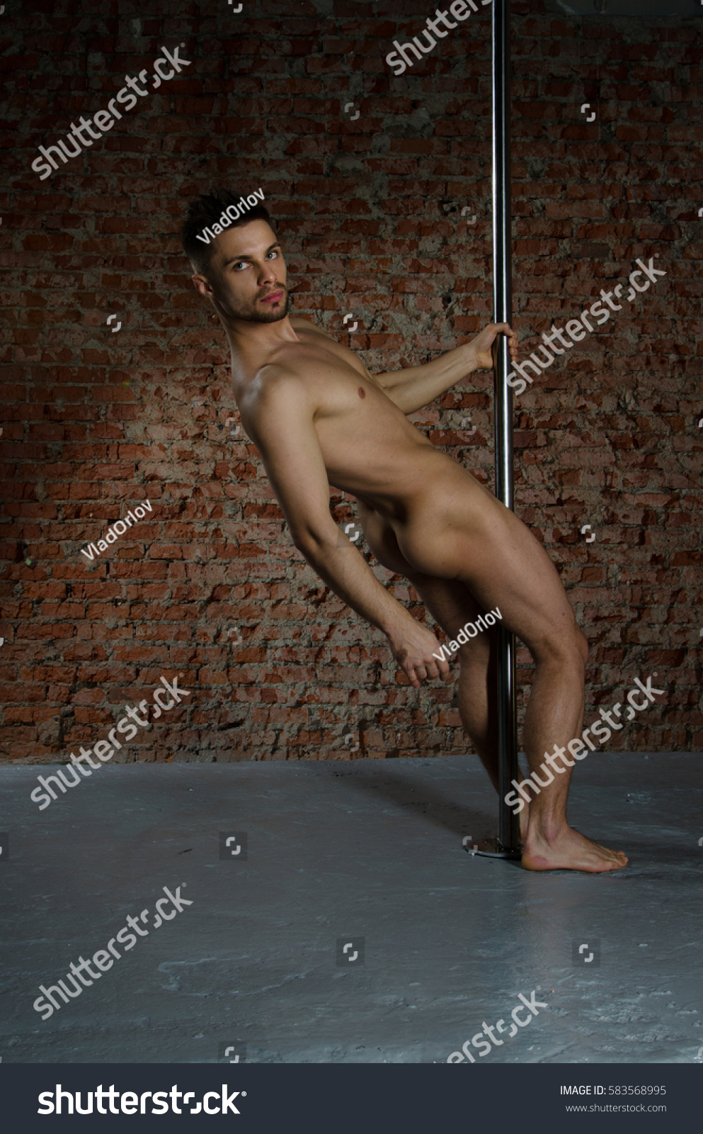 Striptease Of Handsome Guy Near The Pole