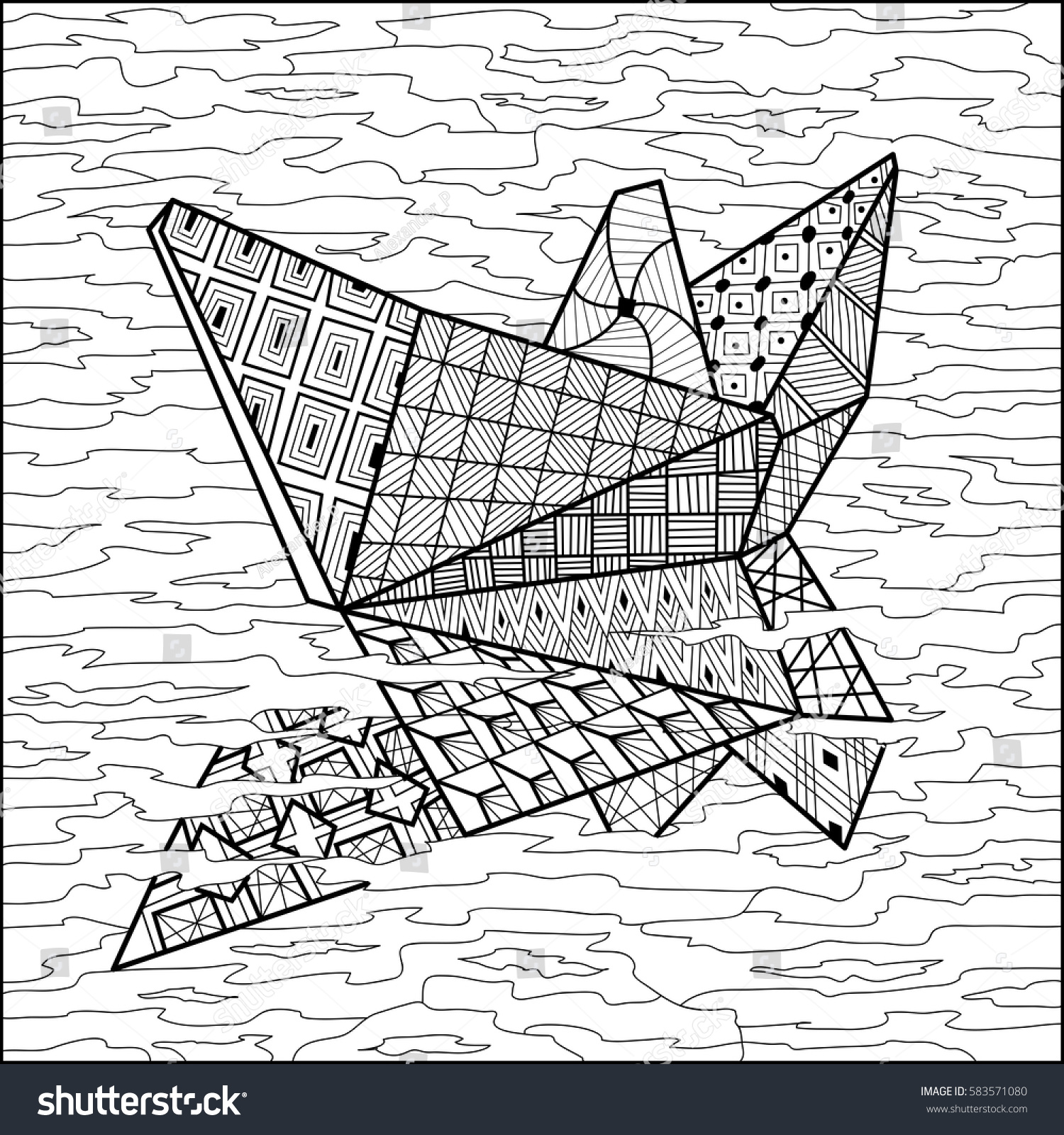 paper boat on water coloring book vector illustration coloring for adult black and white - Coloring Book Paper Stock