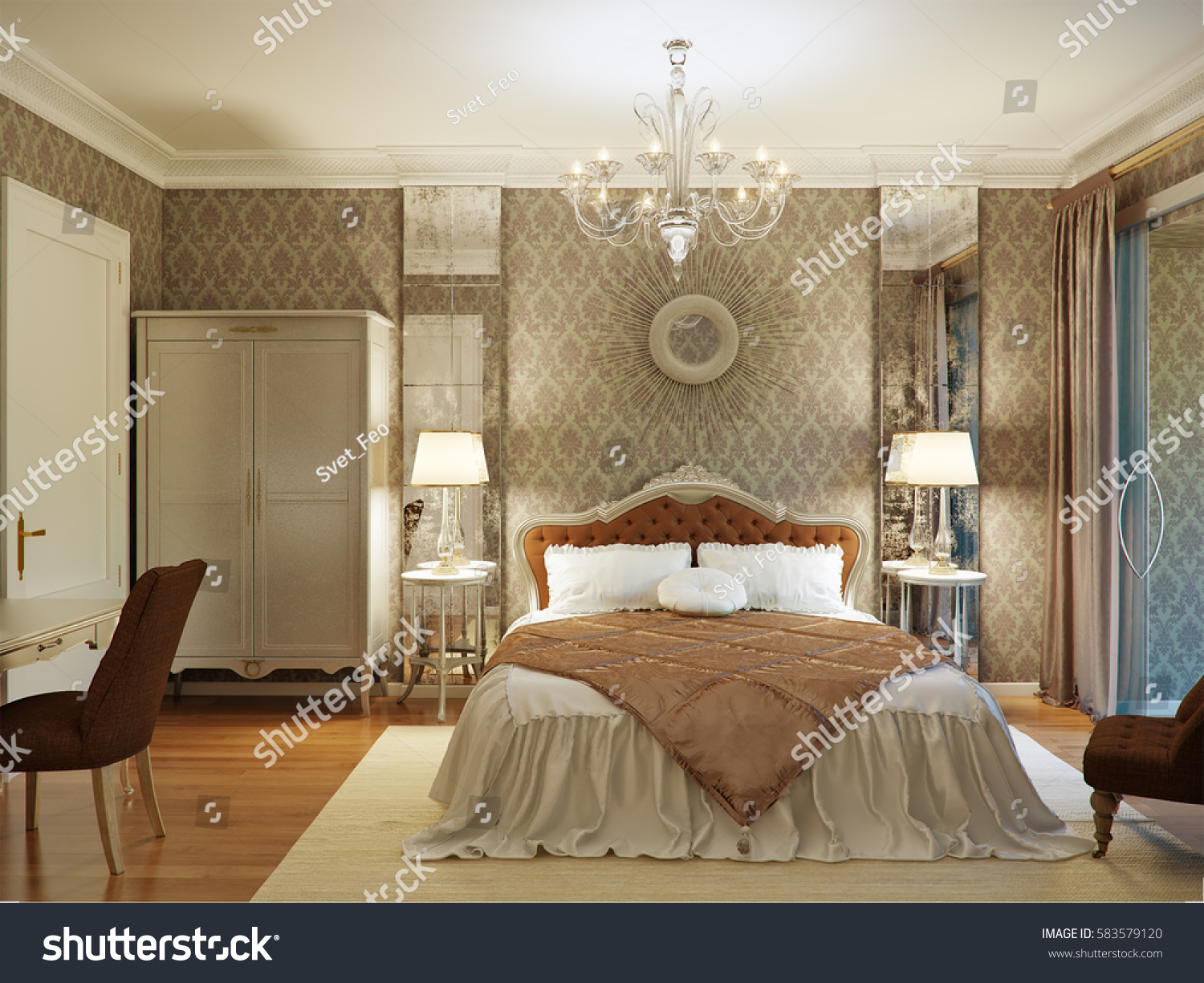 Luxury Classic Interior Design Bedroom Luxury bedroom interior design in classic style with aged mirrors, silvery  furniture and silk bedding