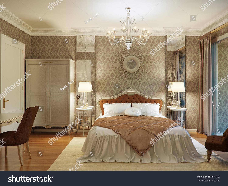Luxury bedroom interior design classic style stock for Classic interior design style