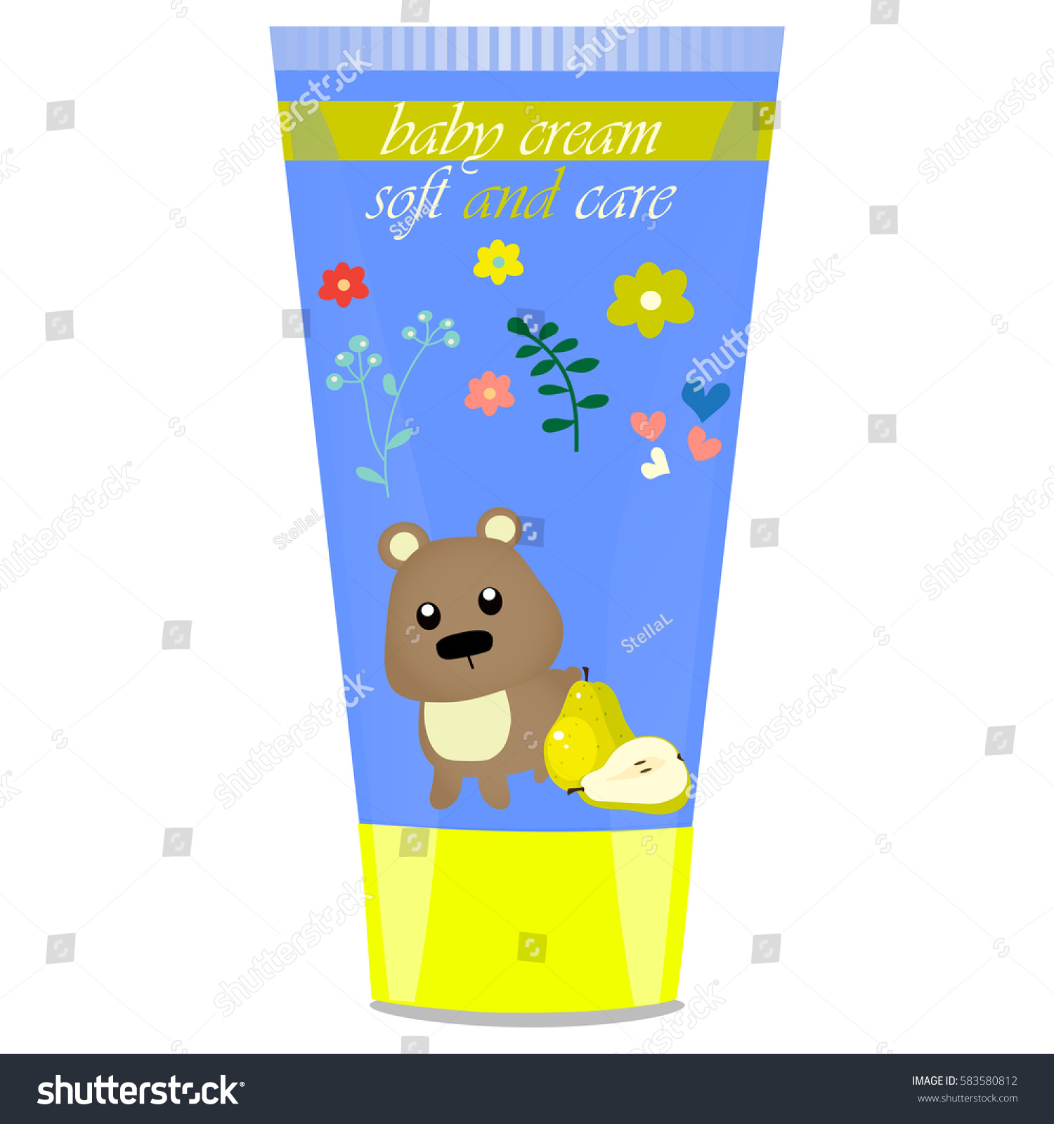High quality original trendy vector Baby cream tube with kids design and  bear illustration