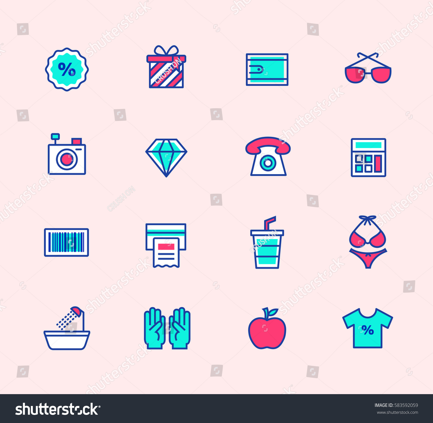 Shopping Line Icons Neon Color Symbols Stock Vector 583592059