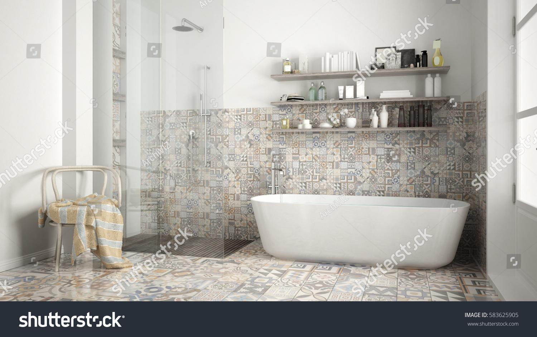 Scandinavian Bathroom Classic White Vintage Interior Stock ...