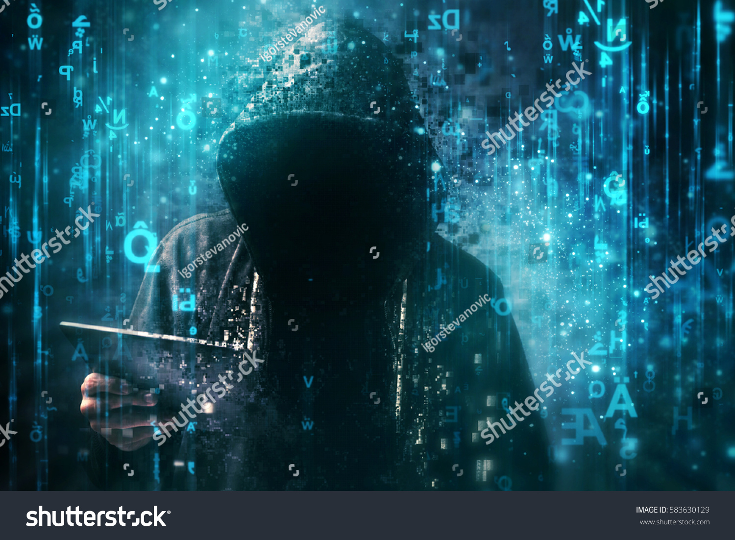 Computer Hacker Hoodie Cyberspace Surrounded By Stock Photo (Edit