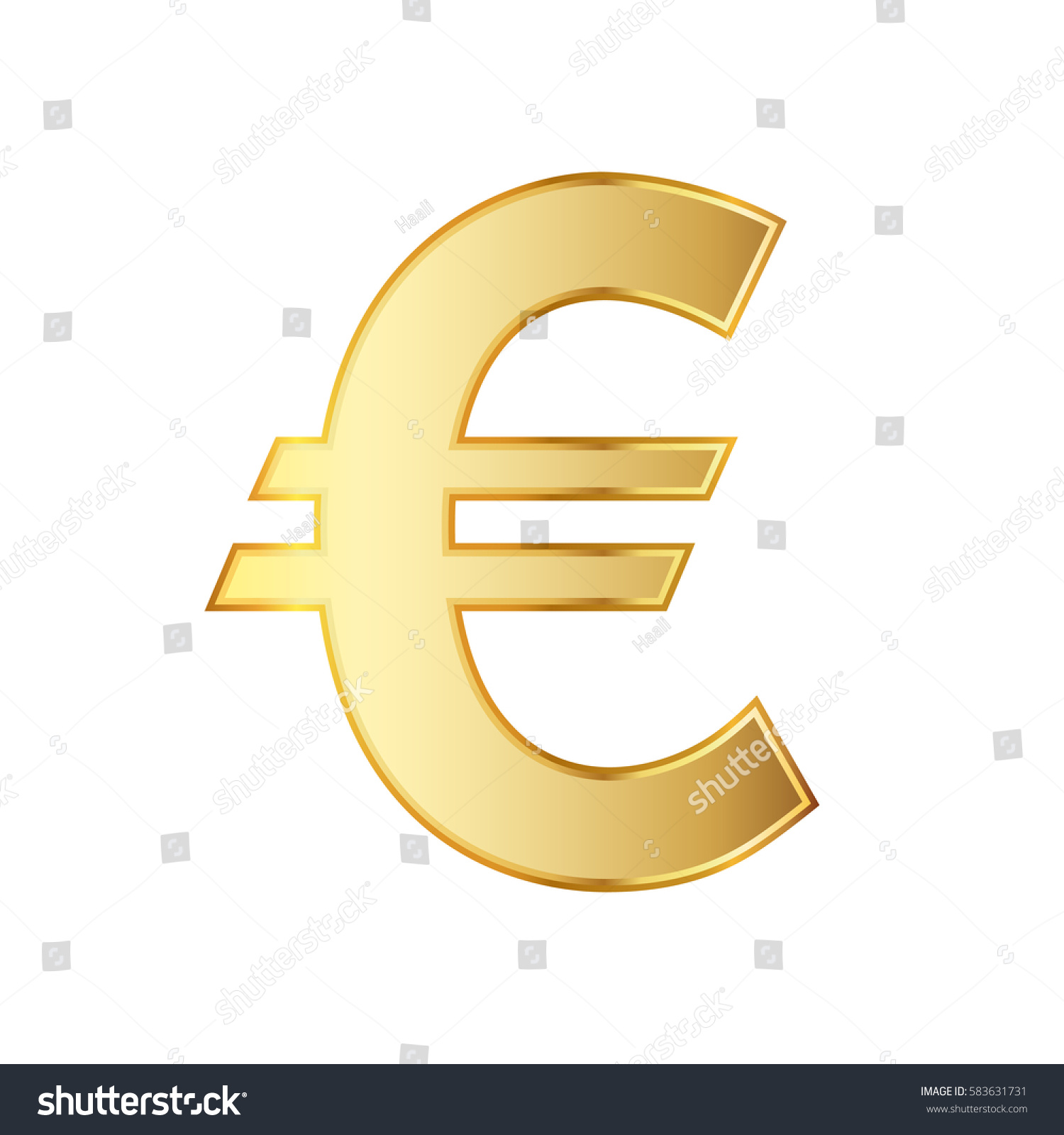 Golden Symbol Of The Euro Currency Vector Illustration Golden Euro