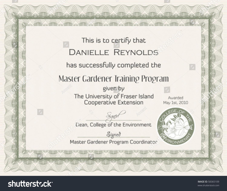 Master gardener certificate template stock vector 58365109 master gardener certificate template xflitez Gallery