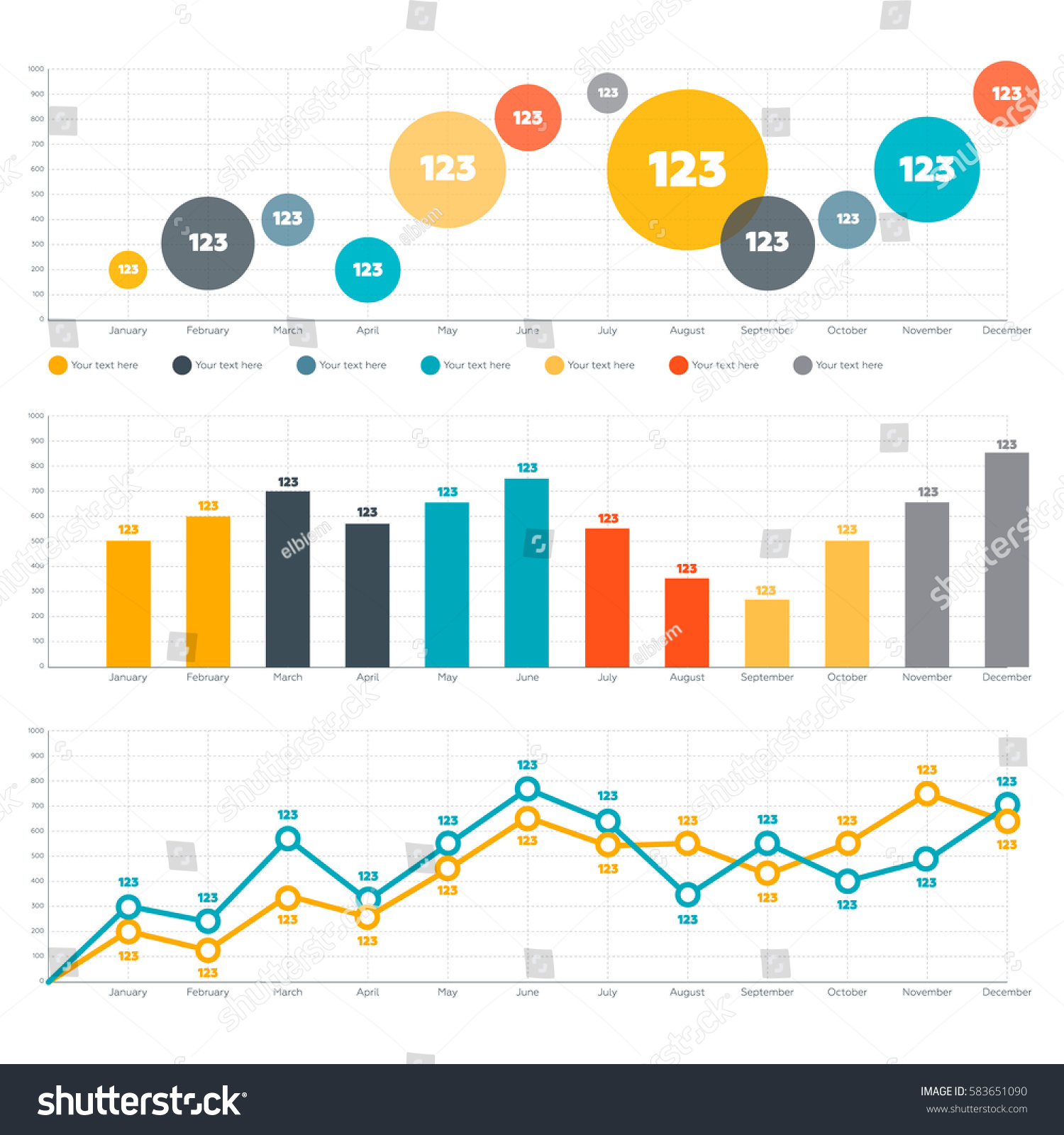 Infographics elements line chart bar chart stock vector royalty line chart bar chart and circle diagram ccuart Choice Image