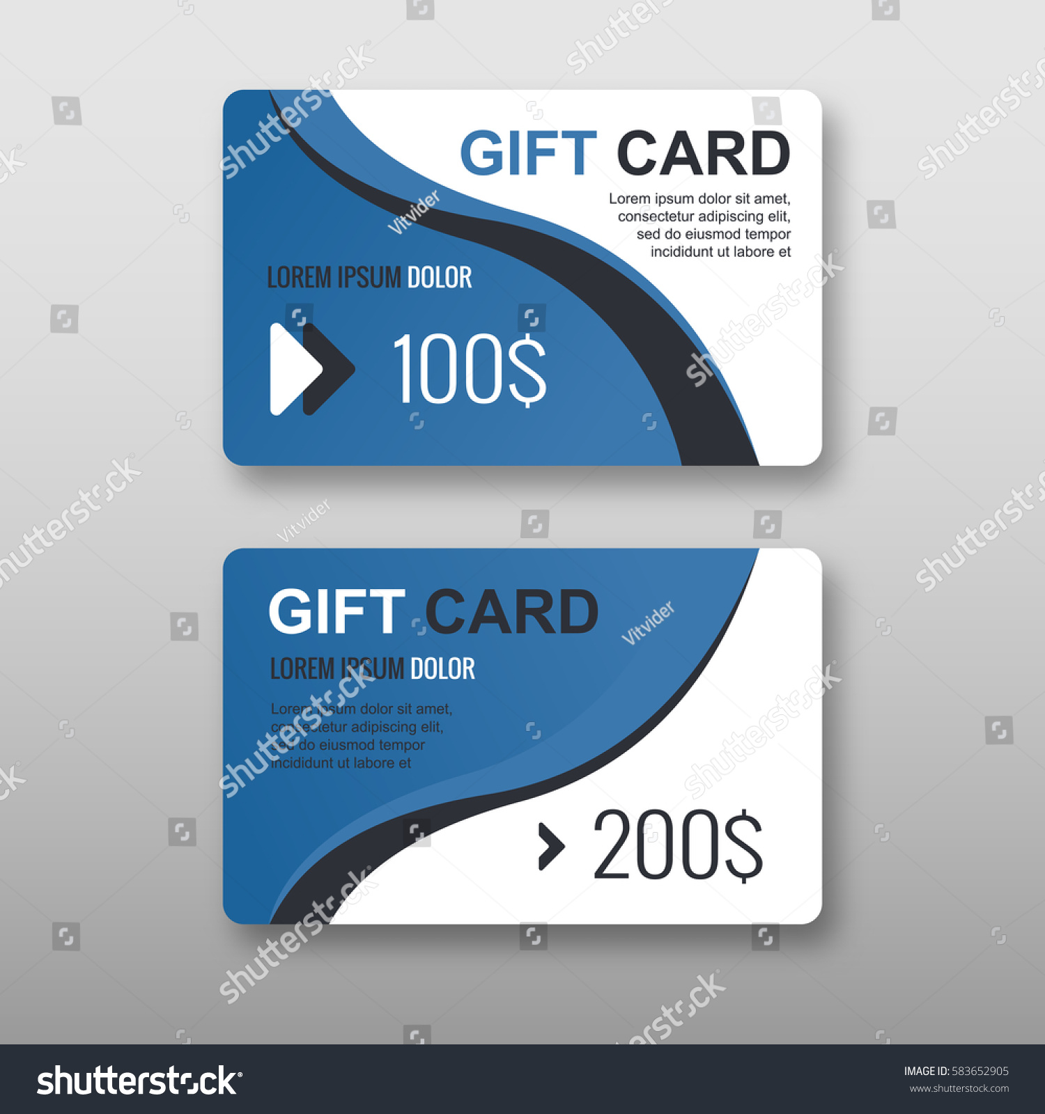 Set Gift Discount Cards Layout Templates Stock Vector 583652905 ...