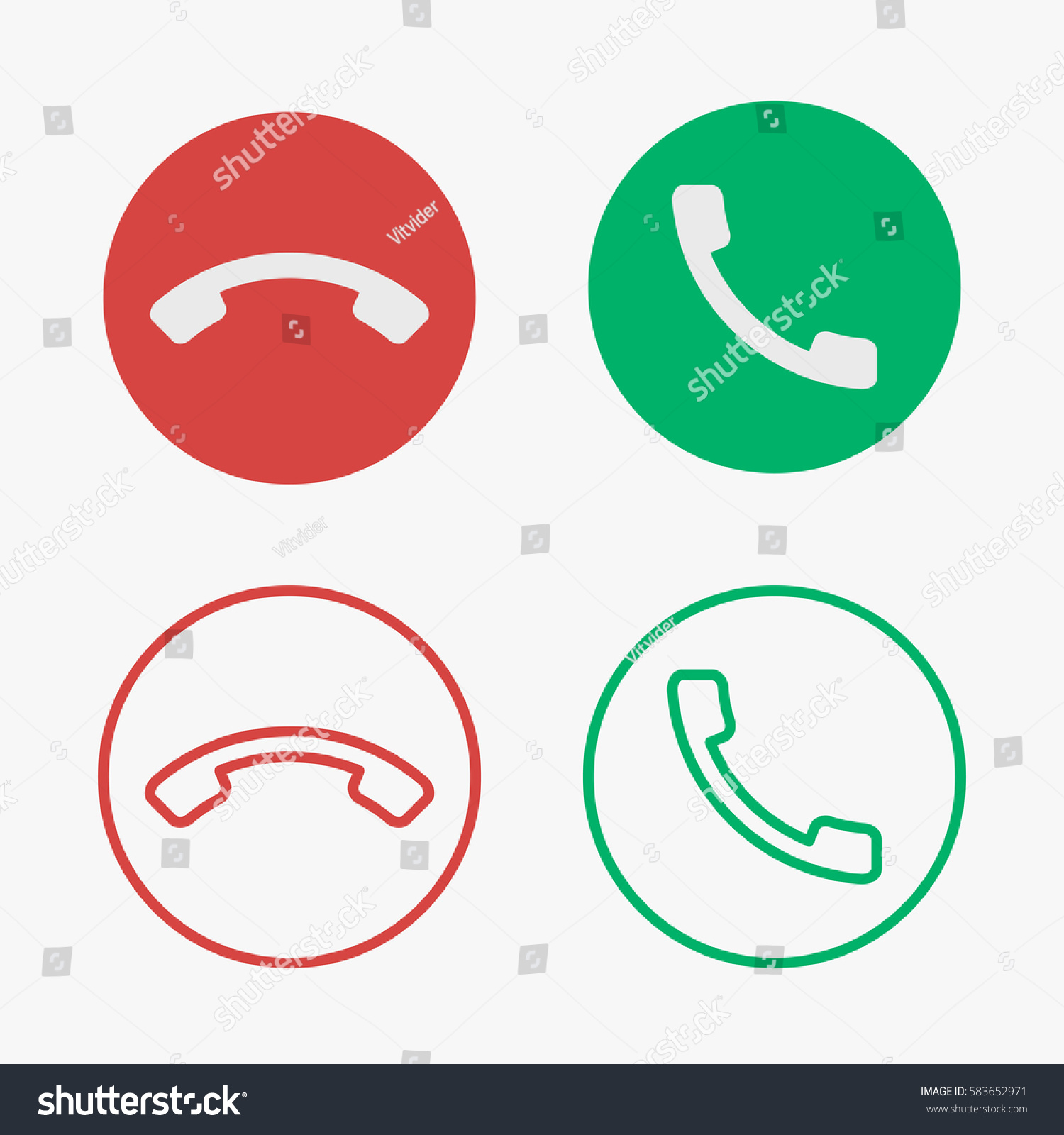 Set Phone Call Vector Icons Solid Stock Vector Royalty Free