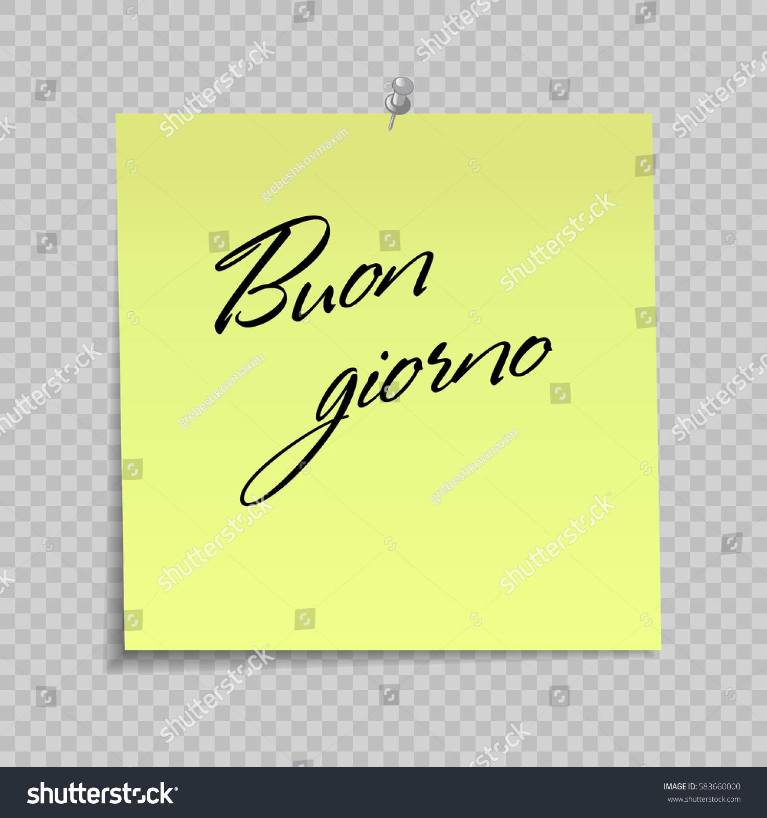 Yellow sticky note greeting message hello stock vector 583660000 yellow sticky note with greeting message hello on italian buon giorno m4hsunfo