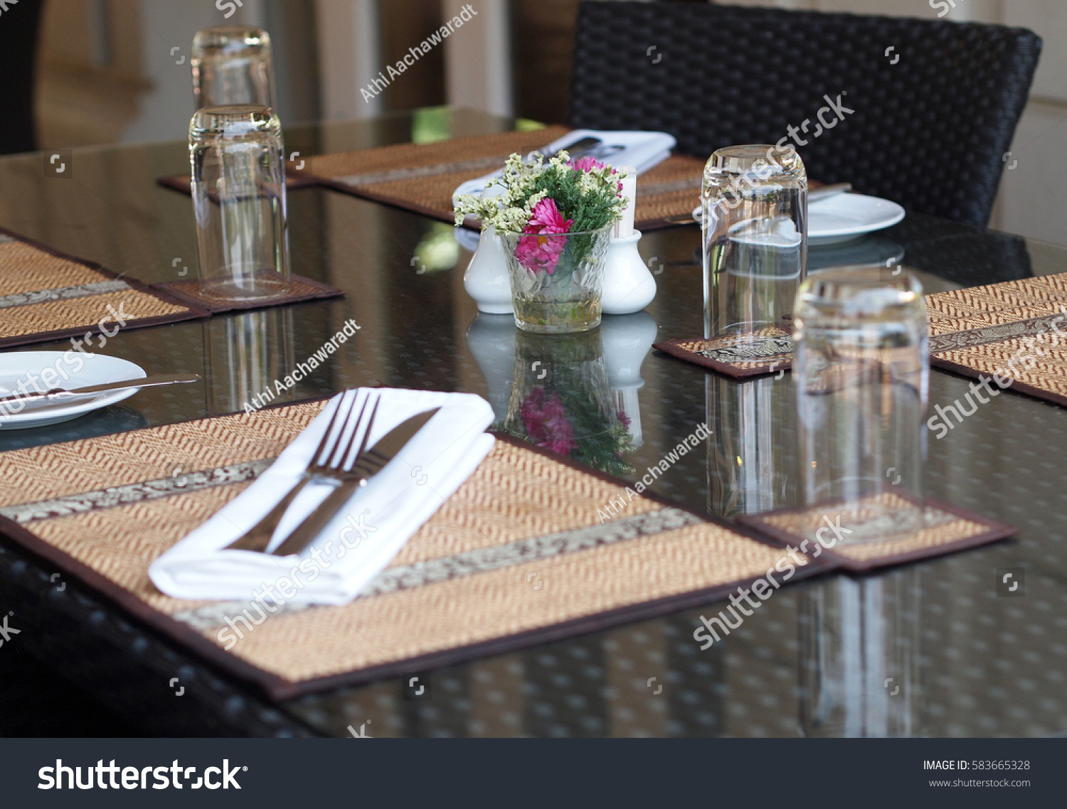 Restaurant Table Setting Asian Contemporary Style & Restaurant Table Setting Asian Contemporary Style Stock Photo ...