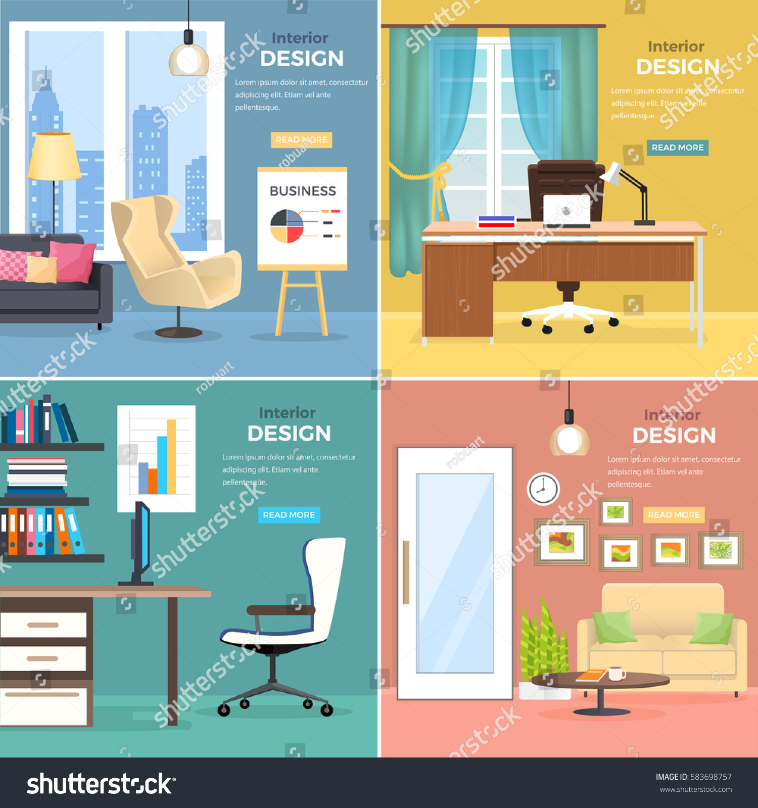 Interior Design Four Office Rooms Modern Stock Vector 583698757 .