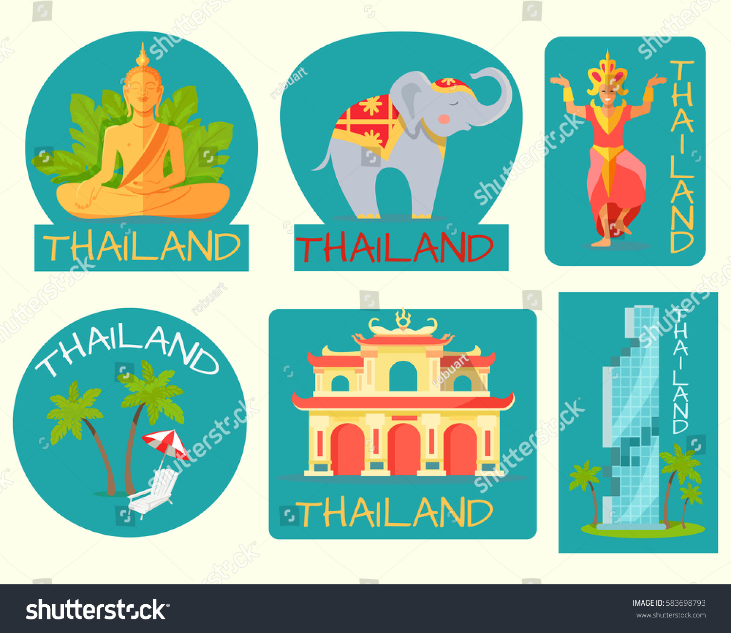 Thailand poster cards symbolic signs vector stock vector 583698793 thailand poster of cards with symbolic signs vector illustration of grey elephant statue of biocorpaavc Choice Image