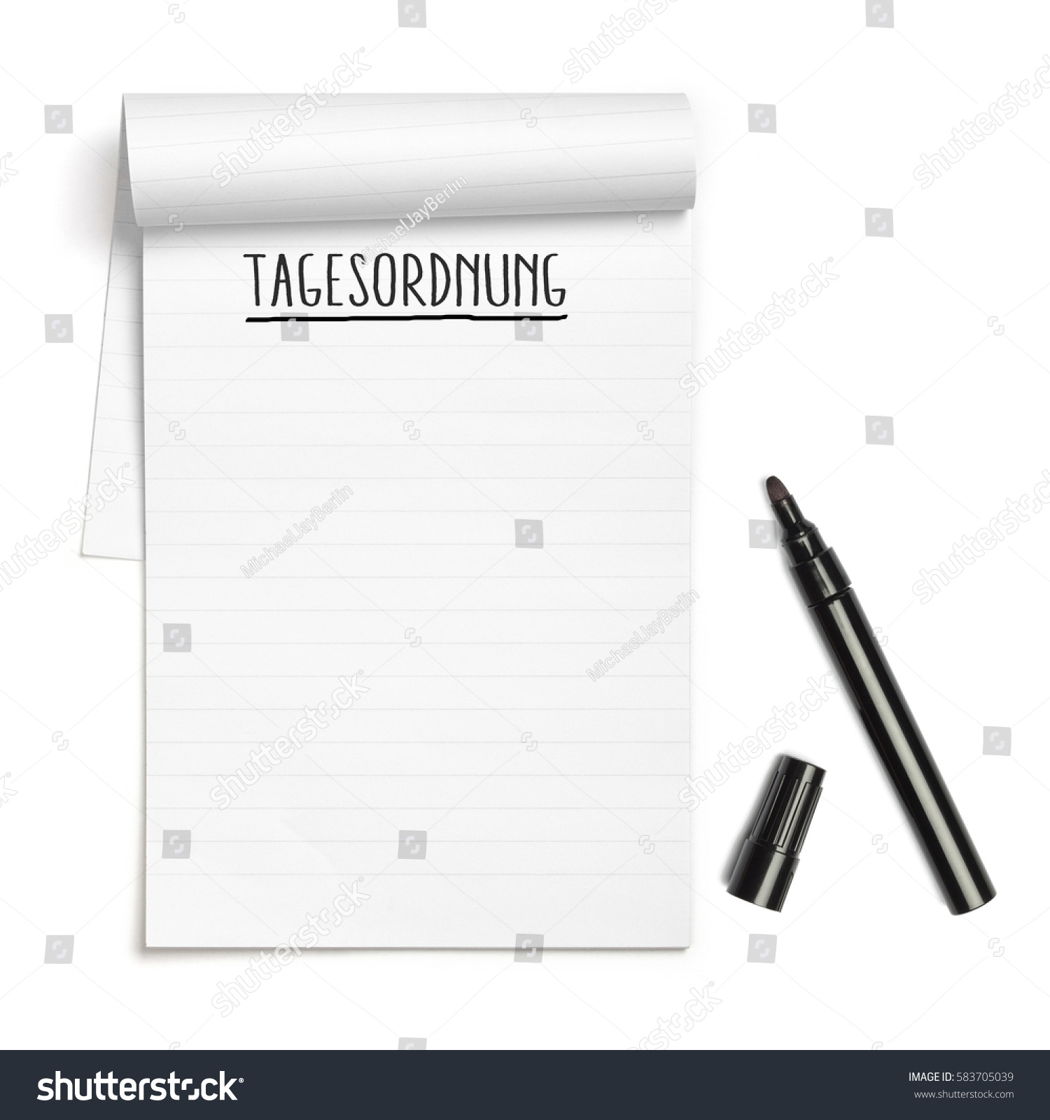 German Word Tagesordnung Meeting Agenda On Stock Photo 583705039 ...