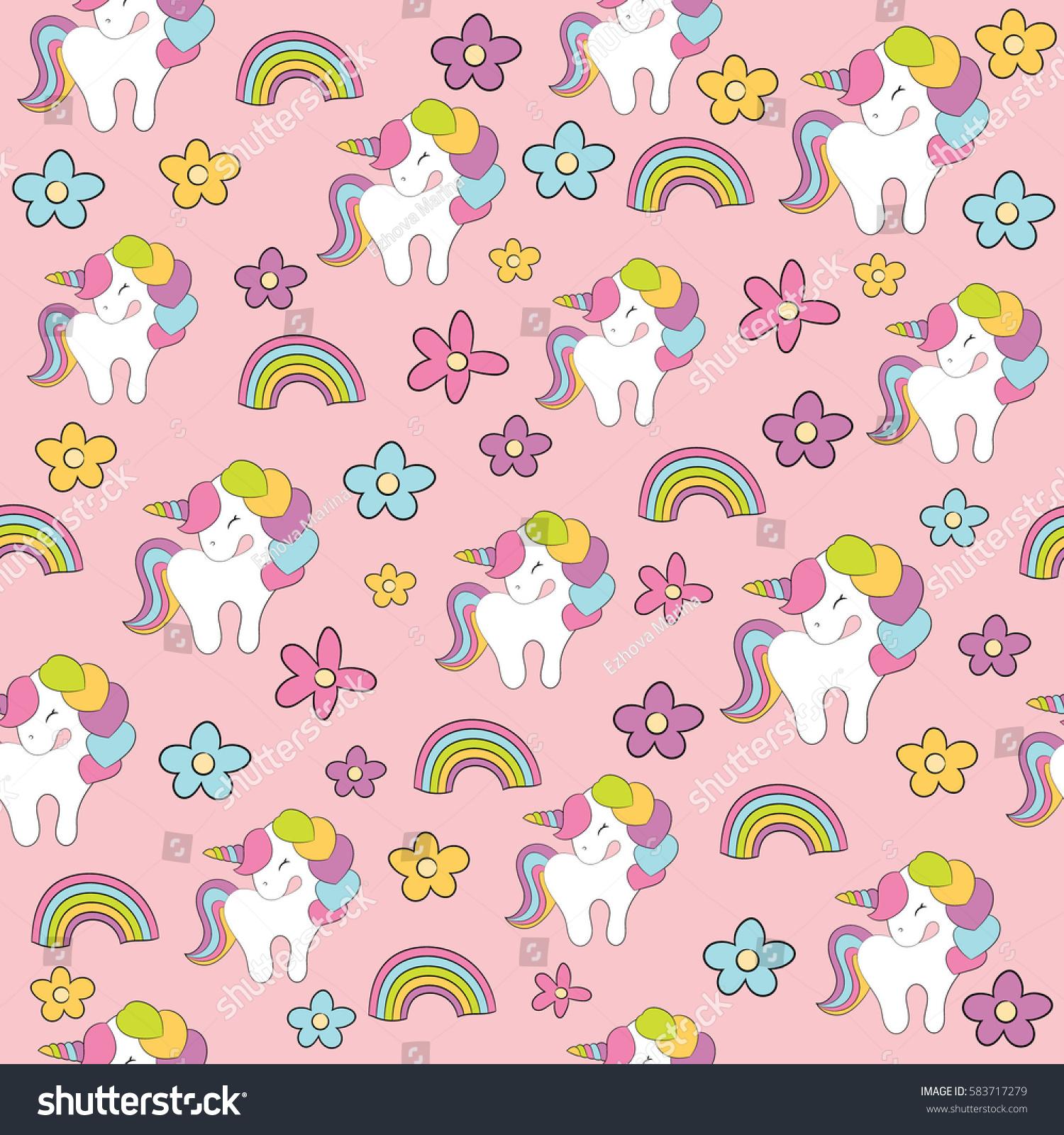 Seamless Baby Pattern Cute Unicorn Rainbow Stock Vector 583717279 ...