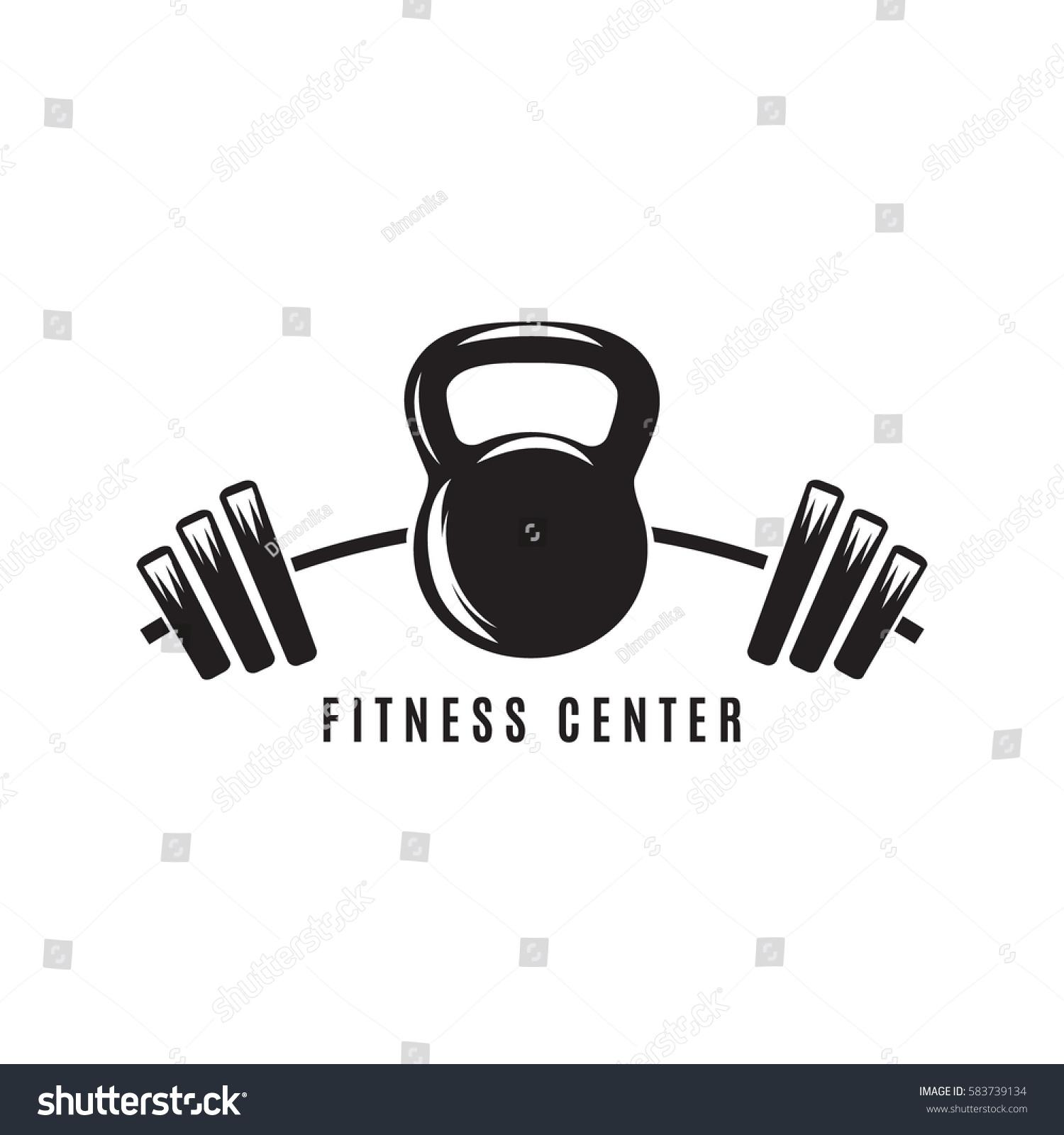 Dumbbell Icon Vector Logo Fitness Clubkettl...