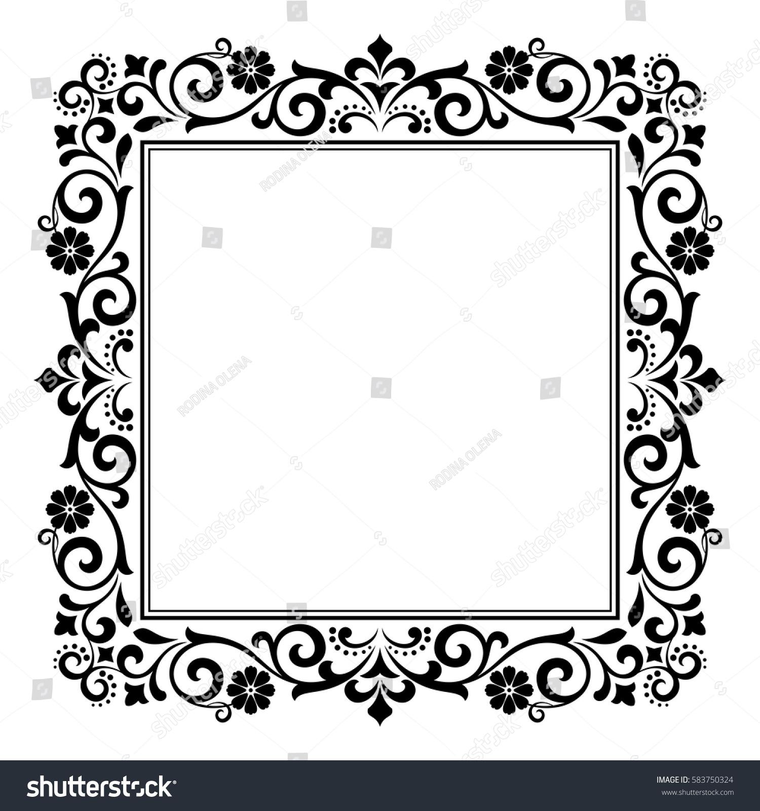 Decorative Line Art Frames Design Template Stock Vector 583750324 ...