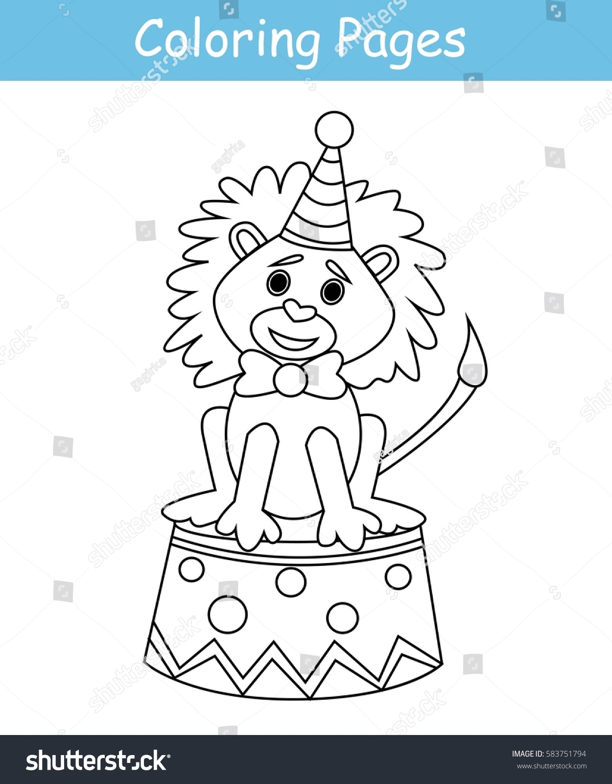Coloring Pages Circus Lion Game Kids Stock Vector Royalty