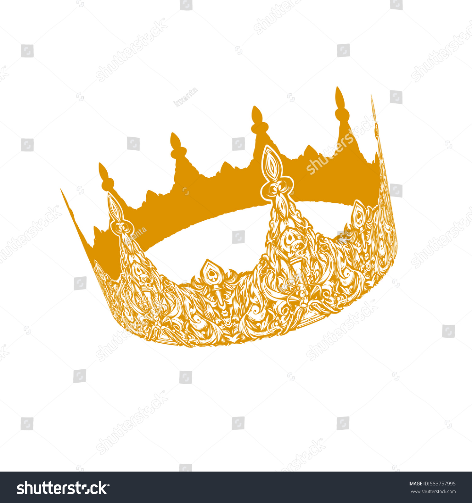 Beautiful Gold Vintage Crown Patterned Old Stock Vector 583757995