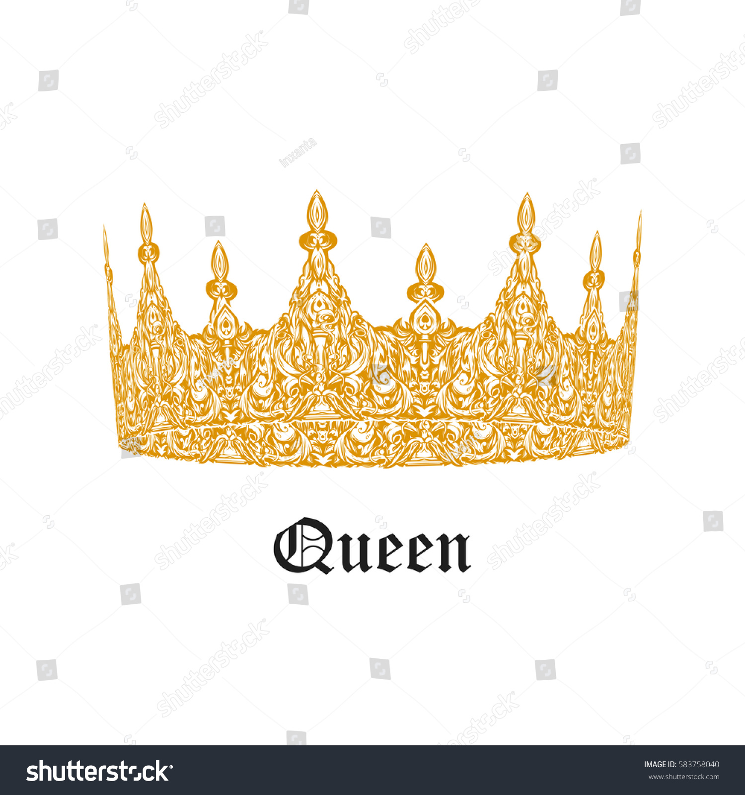 Beautiful gold vintage crown patterned old stock vector 583758040 beautiful gold vintage crown patterned old element symbol of power royal attribute biocorpaavc Gallery