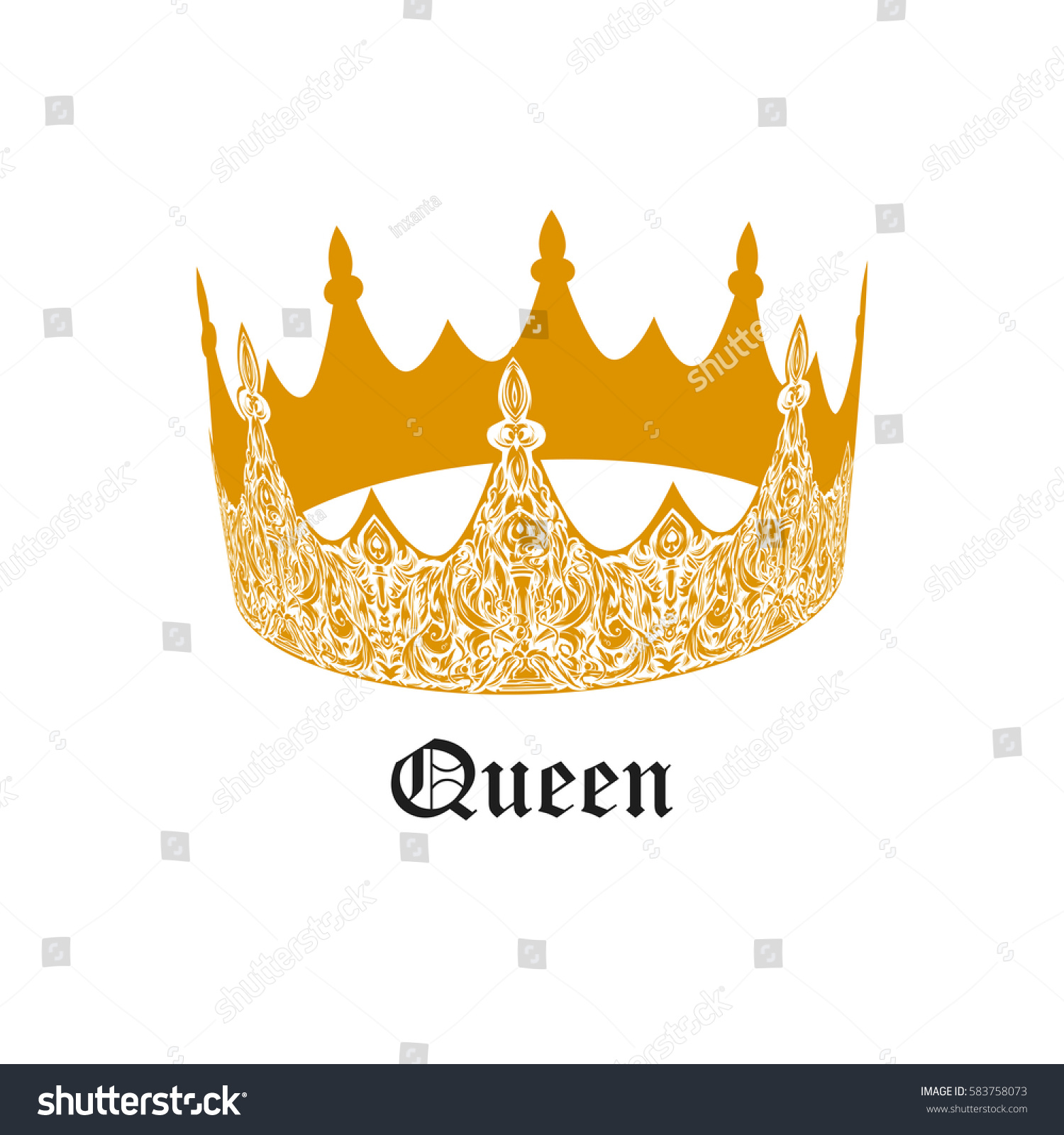 Beautiful Gold Vintage Crown Patterned Old Stock Vector 583758073