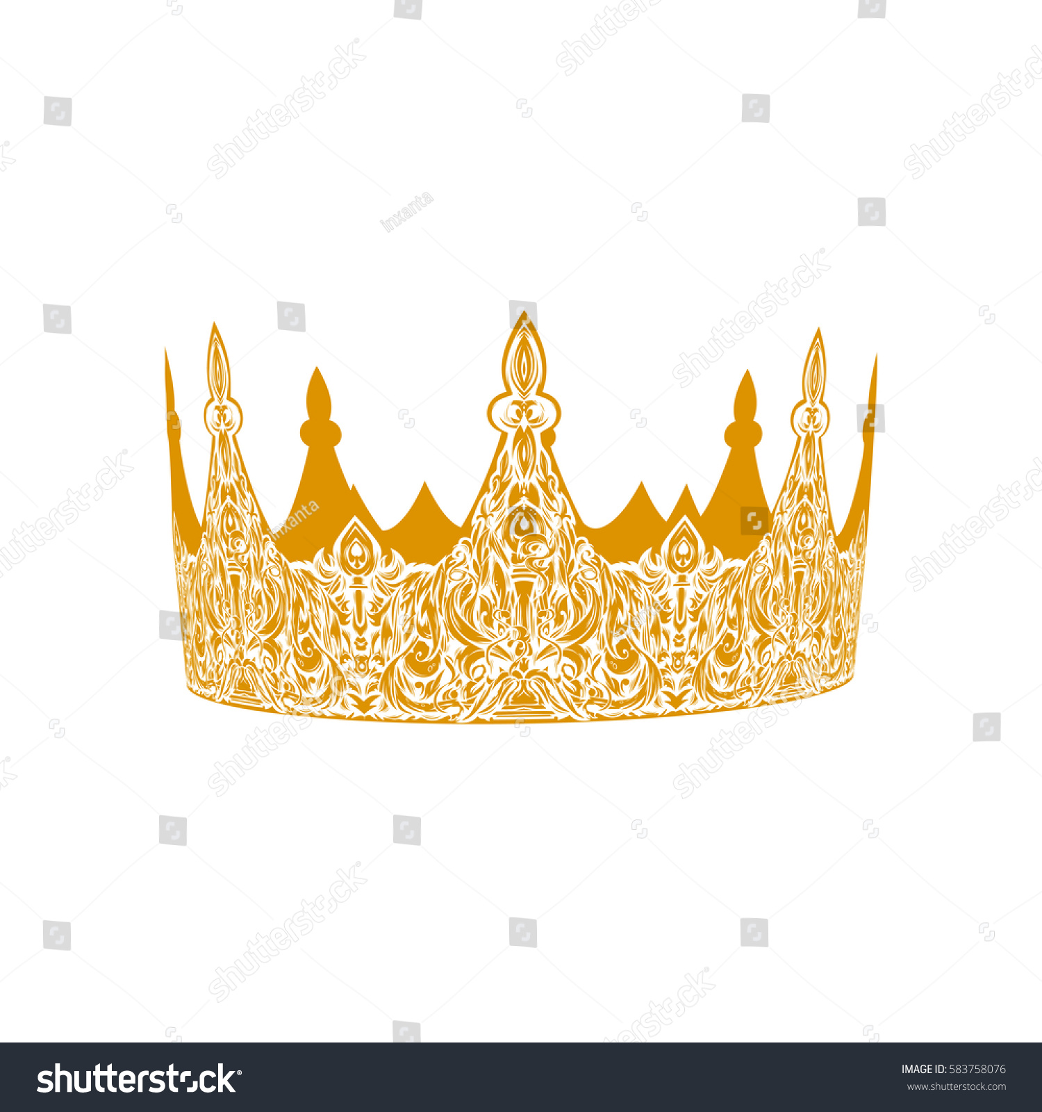 Beautiful gold vintage crown patterned old stock vector 583758076 beautiful gold vintage crown patterned old element symbol of power royal attribute biocorpaavc Gallery