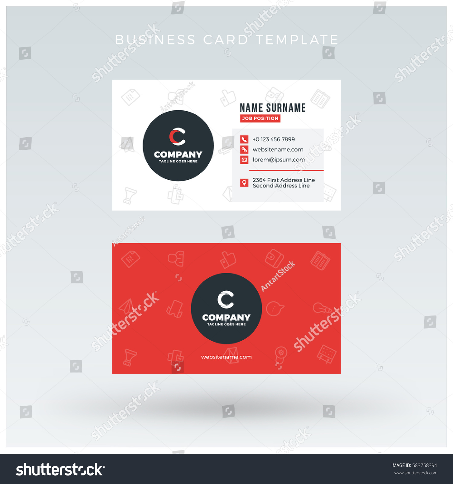 doublesided red business card template vector stock vector 583758394 shutterstock. Black Bedroom Furniture Sets. Home Design Ideas