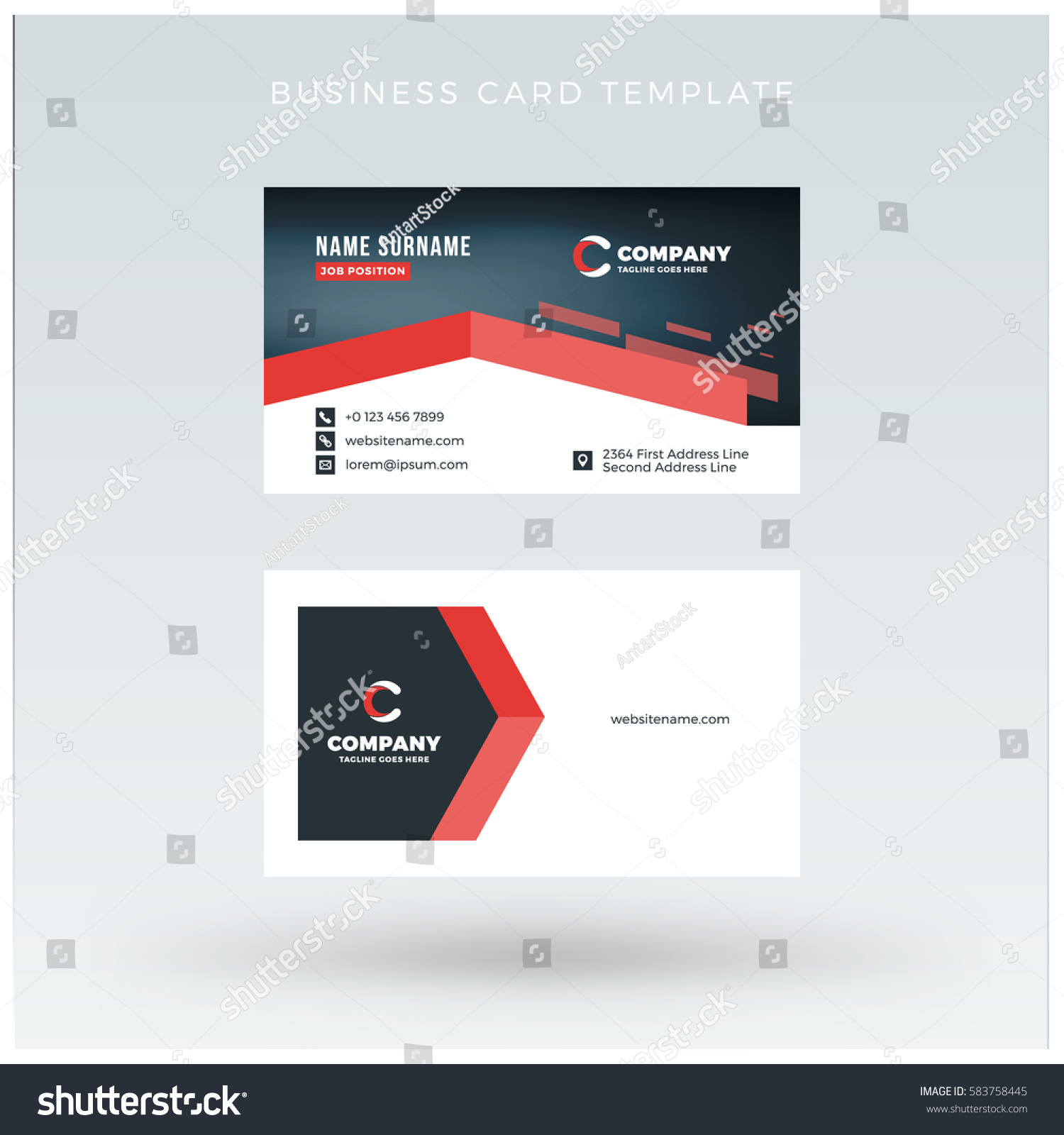 doublesided red business card template vector stock vector 583758445 shutterstock. Black Bedroom Furniture Sets. Home Design Ideas