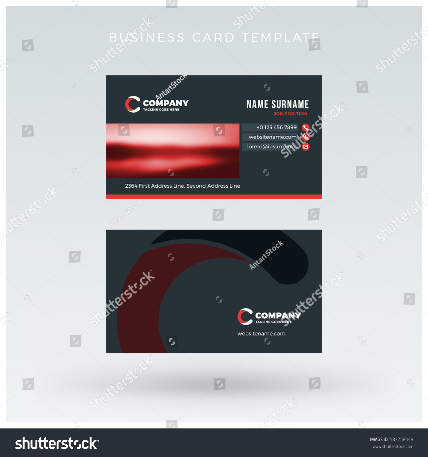 doublesided red business card template vector stock vector 583758448 shutterstock. Black Bedroom Furniture Sets. Home Design Ideas