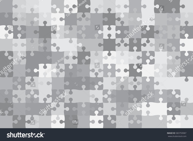 150 Grey White Puzzles Pieces Arranged Stock Vector (2018) 583759987 ...