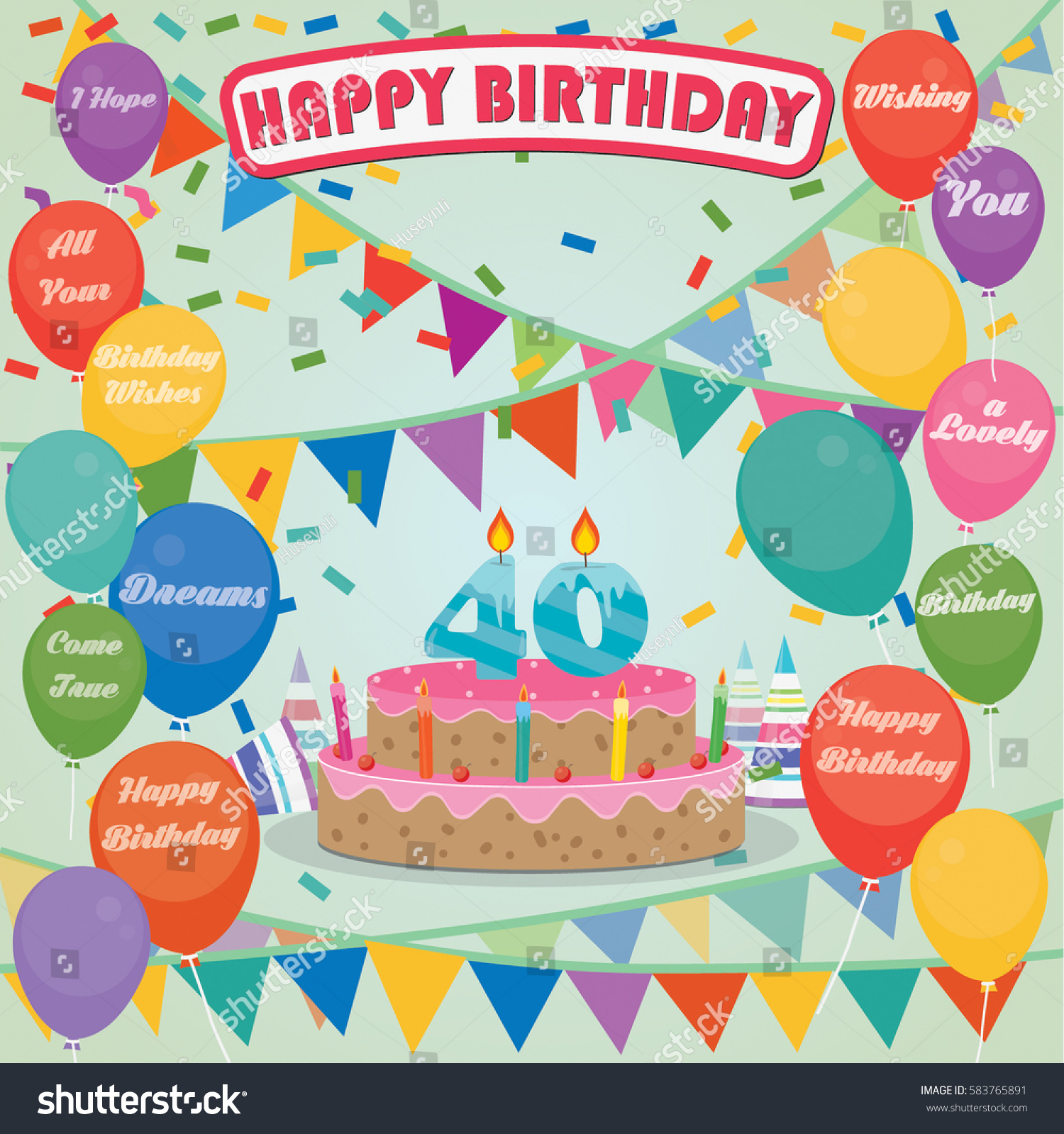 40th Birthday Cake Decoration Background Flat Stock Vector 583765891