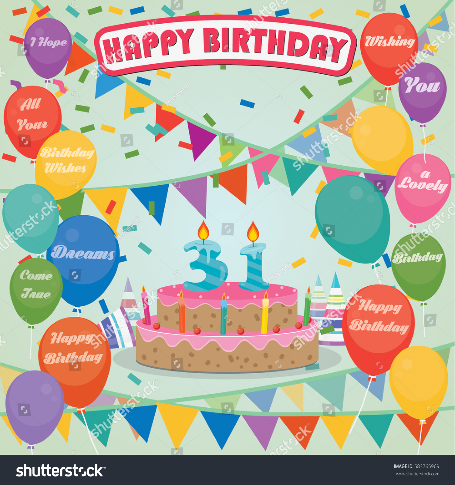 31th Birthday Cake And Decoration Background In Flat Design With