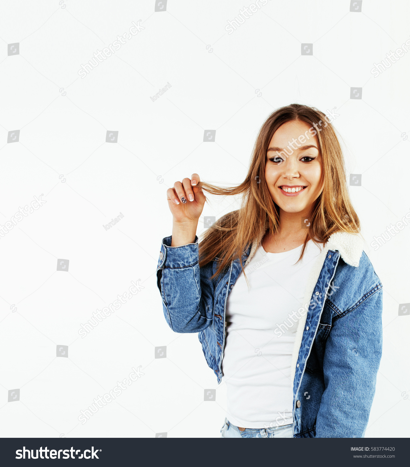 the latest e4520 70fde young pretty teenage hipster girl posing emotional happy smiling on white  background, lifestyle people concept