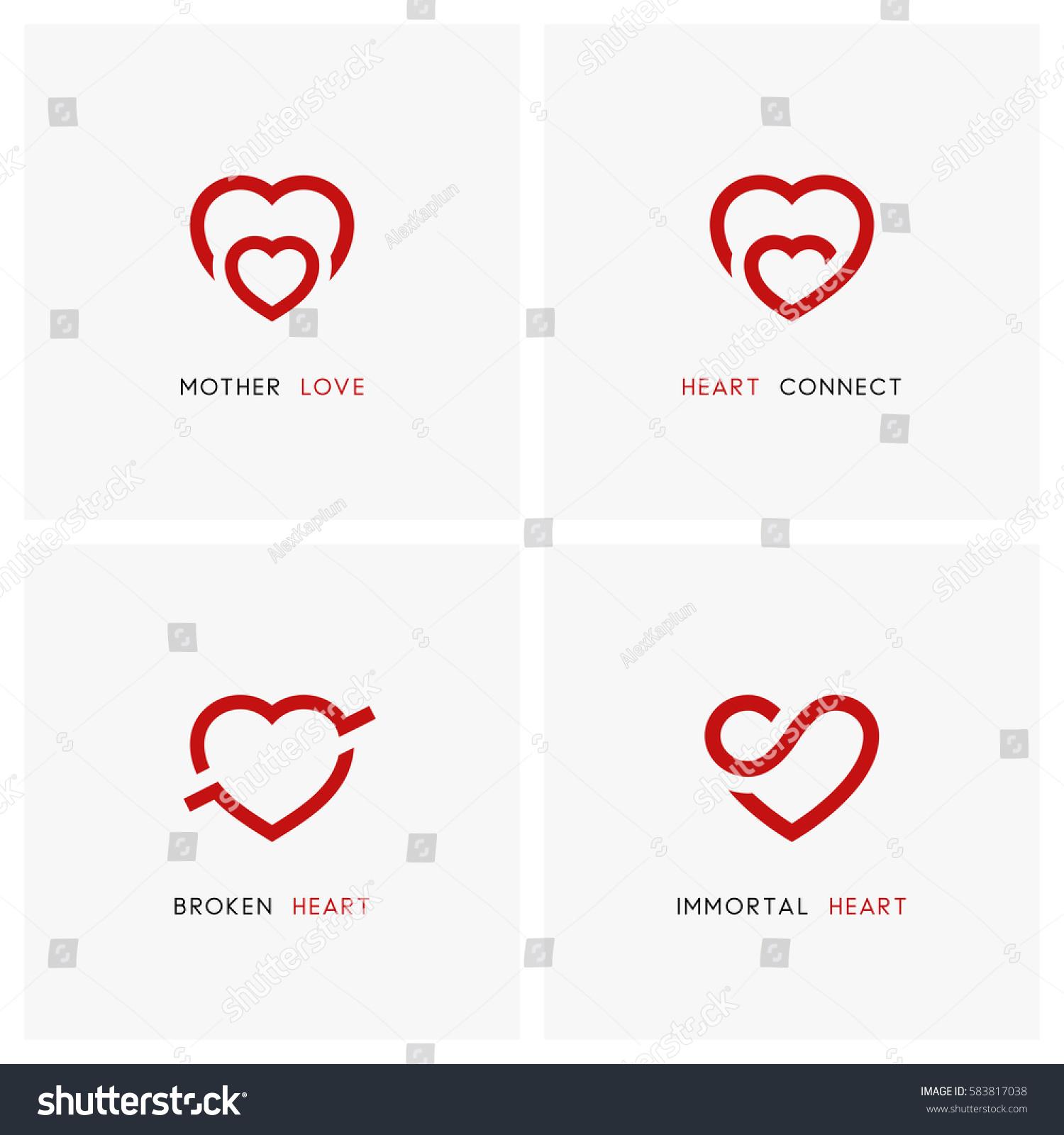 Love Vector Logo Set Red Hearts Stock Vector Royalty Free