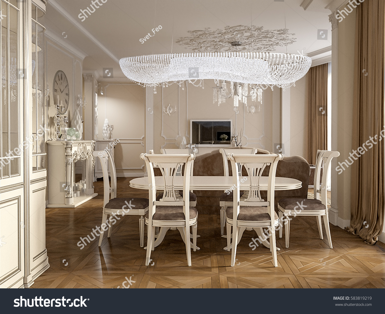 luxury classic interior of dining room kitchen and living room with white furniture and crystal