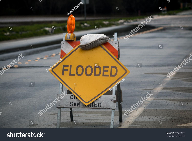 California san mateo county pescadero - Flooded Road Sign In Pescadero San Mateo County California From February 2017 Winter