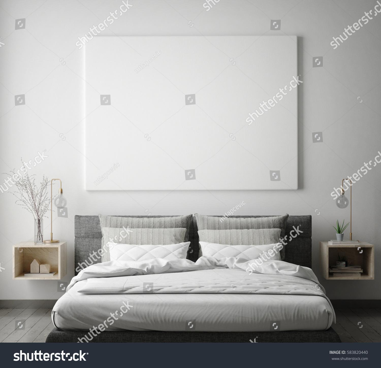 mock up poster frame in hipster bedroom