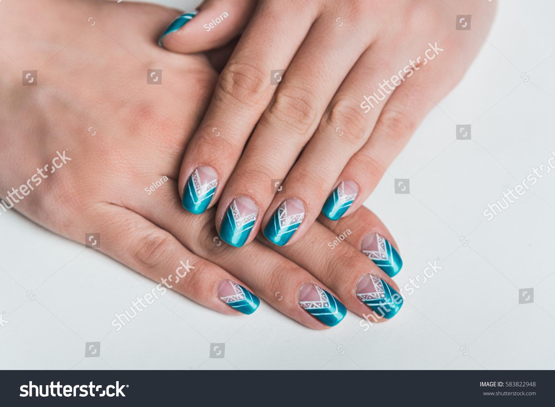 Blue Nail Art Chevron Stripes Stock Photo (Edit Now) 583822948 ...