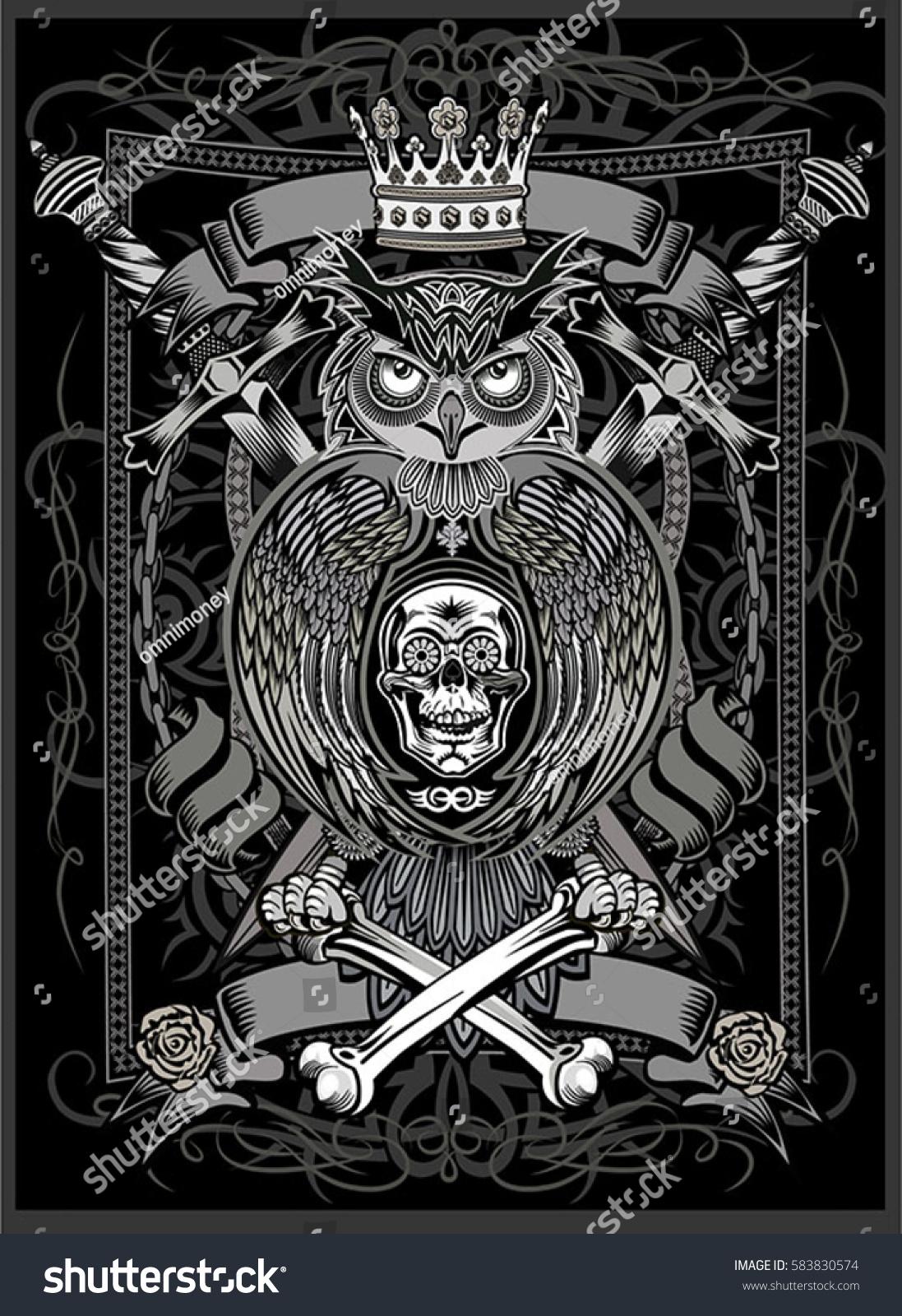 d7f7d22b7 Tattoo Owl Human Skull Rose Stock Vector (Royalty Free) 583830574