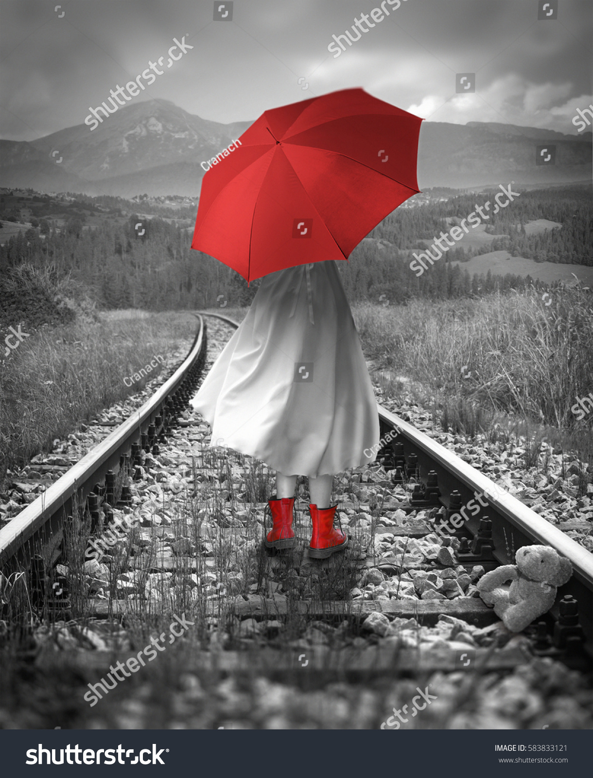 girl red umbrella on tracks lost stock photo 583833121 shutterstock. Black Bedroom Furniture Sets. Home Design Ideas